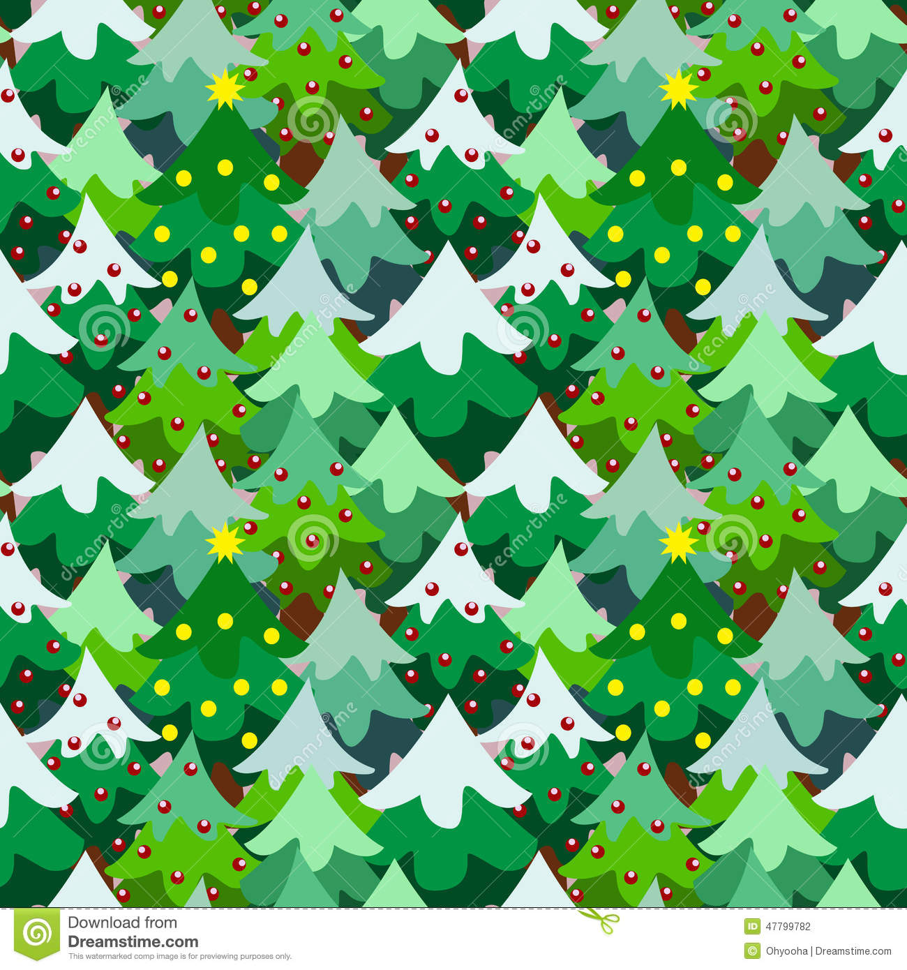 Christmas Theme Pine Tree Forest Seamless Pattern Stock