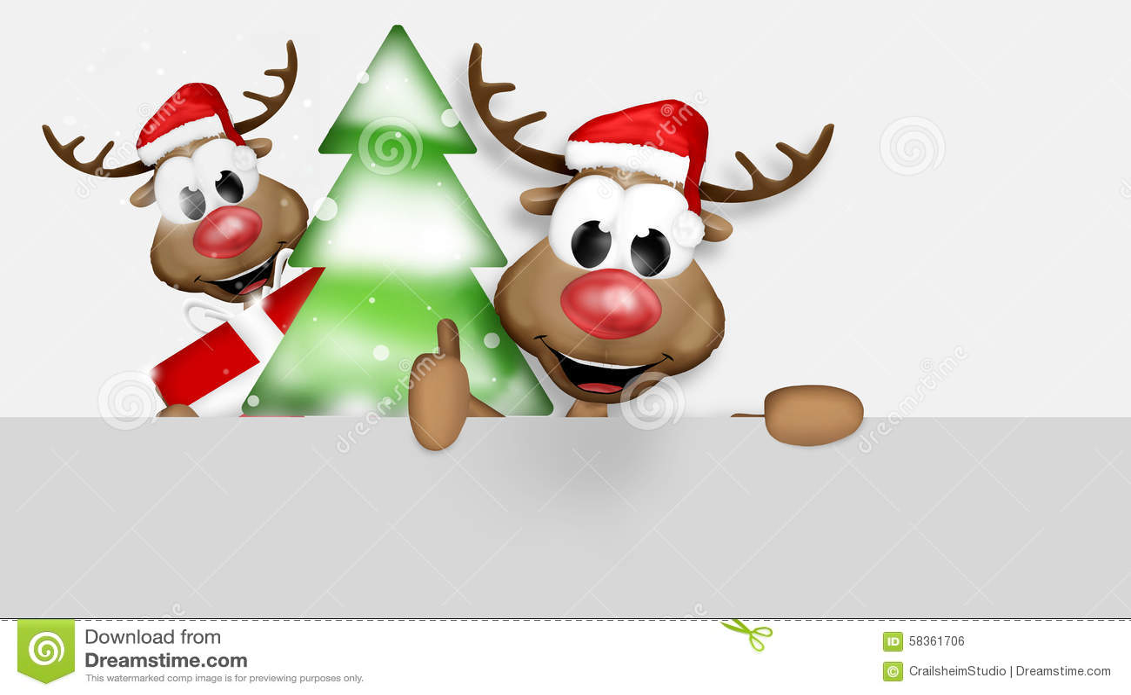 Christmas Thumbs Up Reindeer Stock Illustration