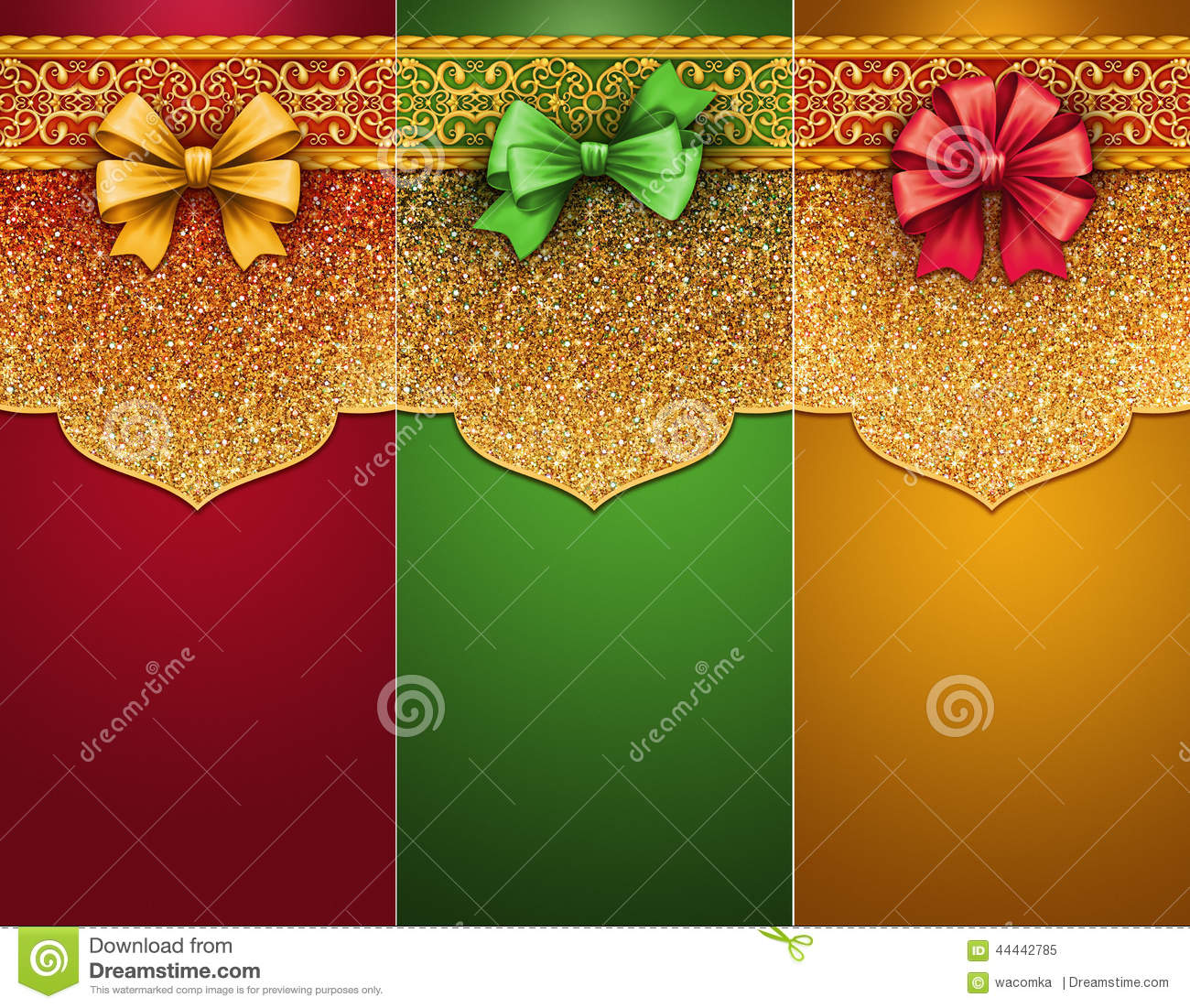 Christmas Traditional Clip Art Gift Tags With Bow