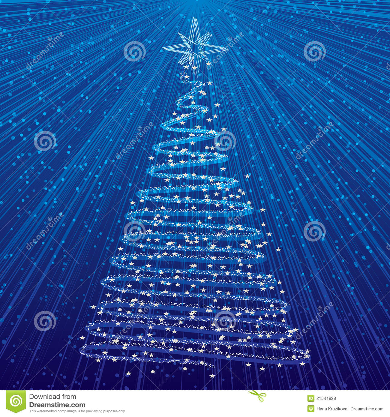 Christmas Tree On Blue Background Royalty Free Stock