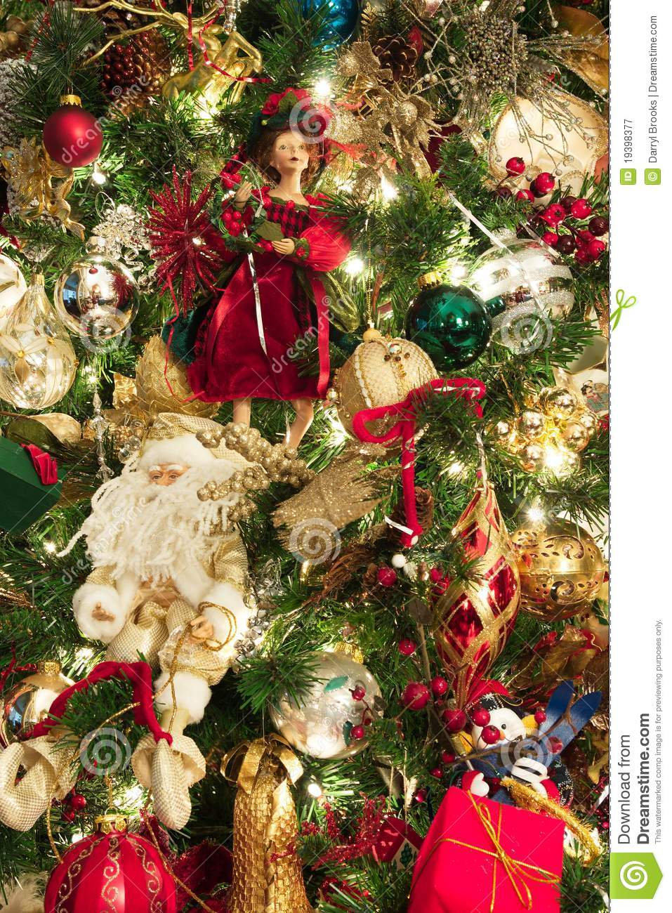 Christmas Tree Decorated With Santas And Dolls Royalty