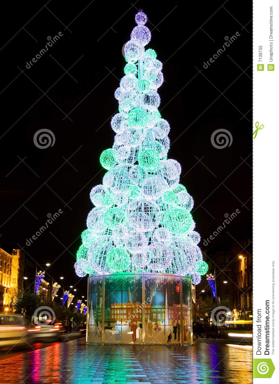 Christmas Tree In Dublin City At Night Stock Image Image