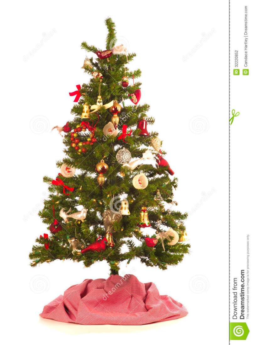 christmas tree with festive decorations antique and new on white - Small Decorated Christmas Trees