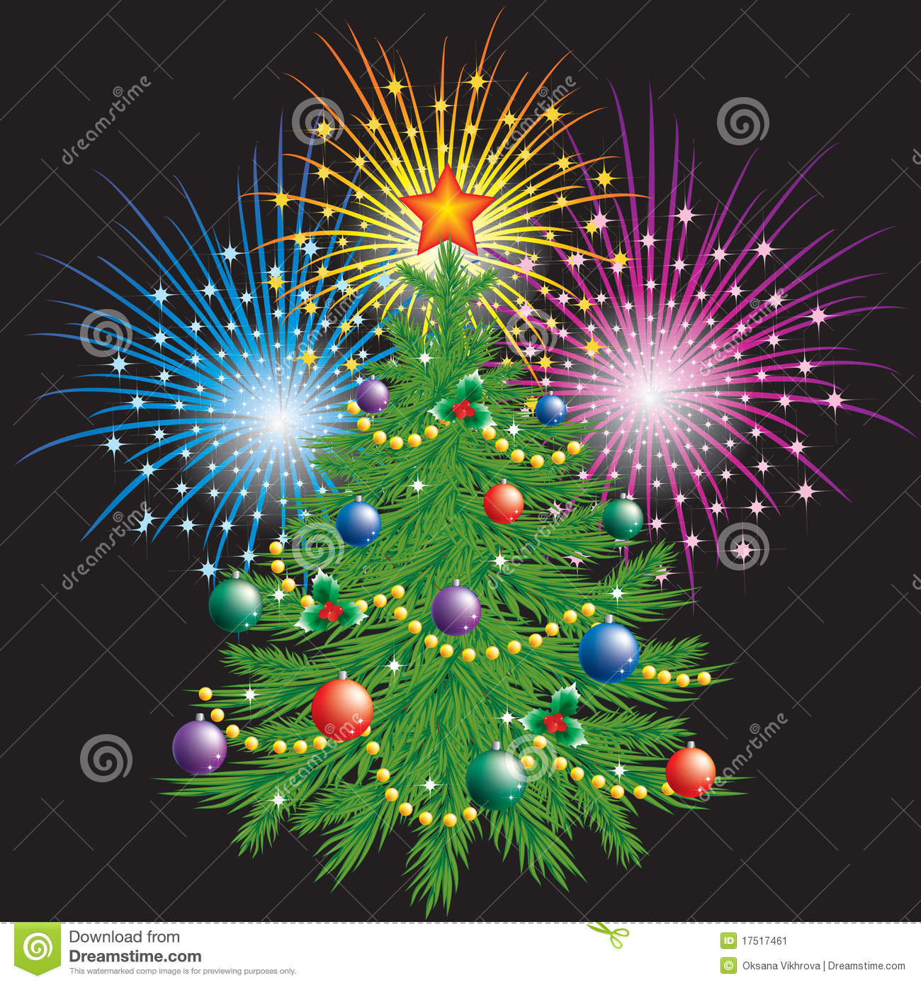 Christmas Tree And Fireworks Stock Vector Illustration
