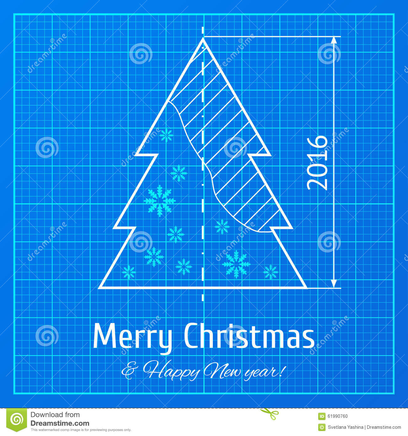 Christmas Tree On Graph Paper Stock Vector