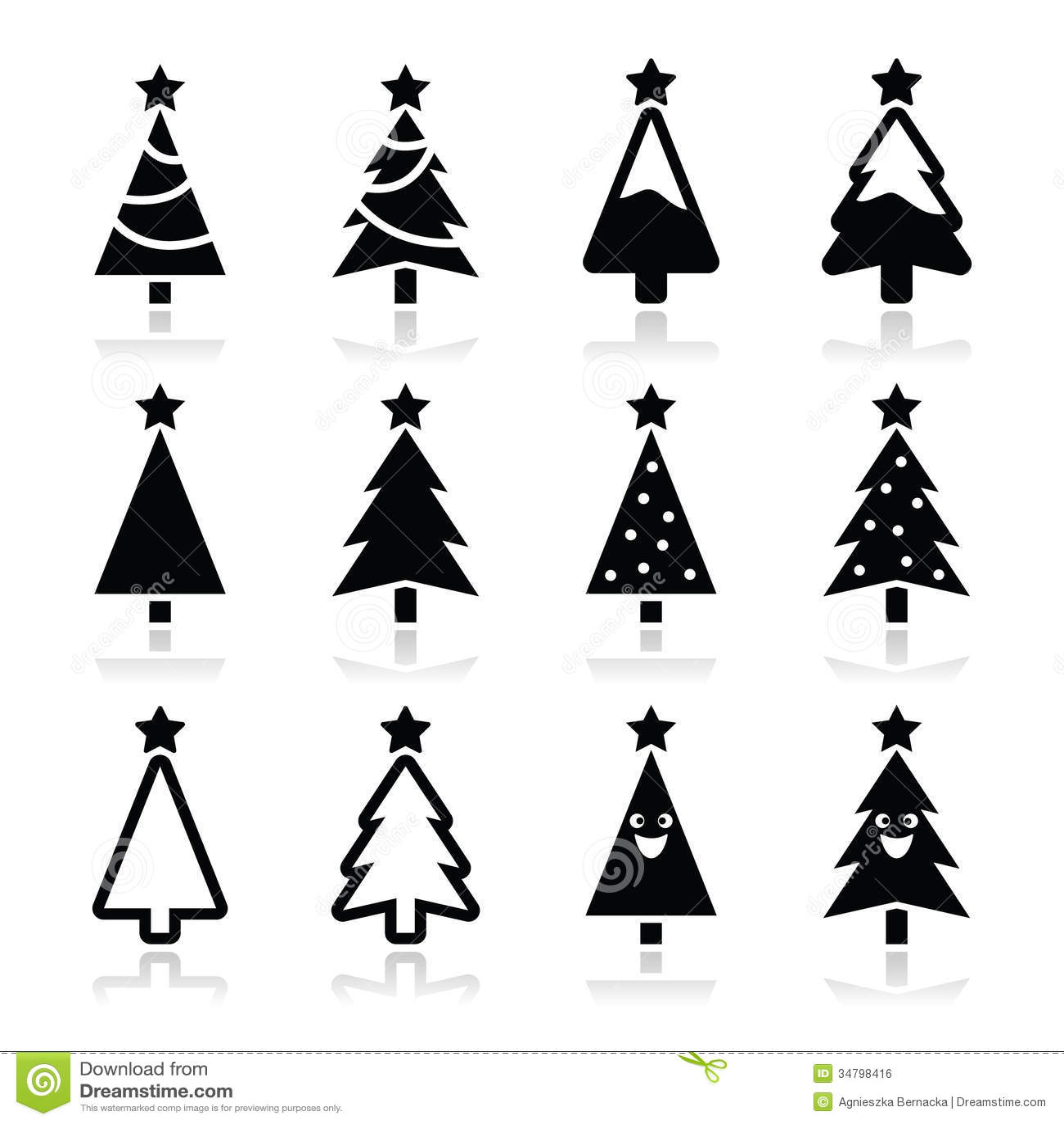 Christmas Tree Icons Set Stock Illustration Illustration