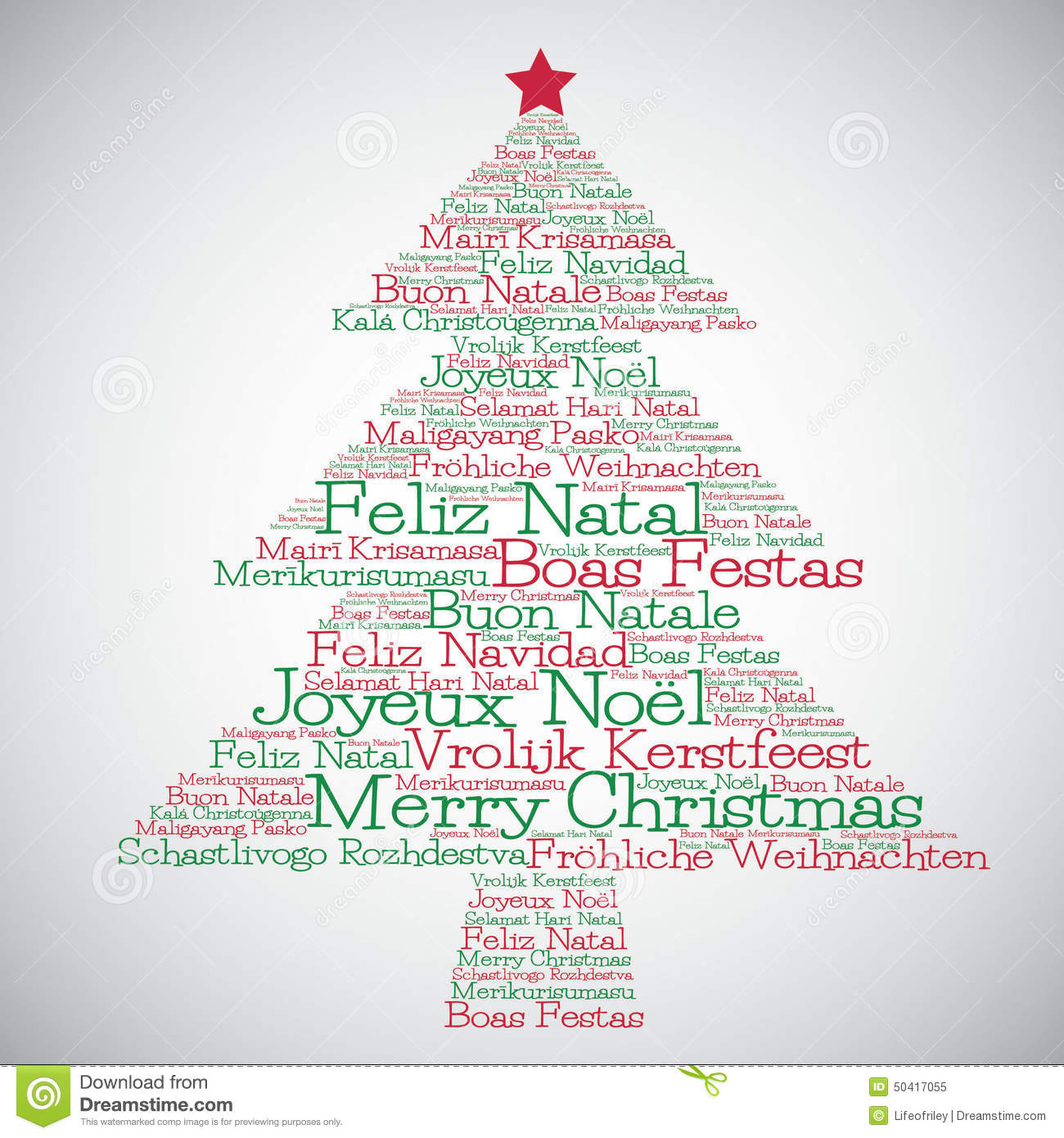 Christmas Tree Made From Merry Christmas In Different