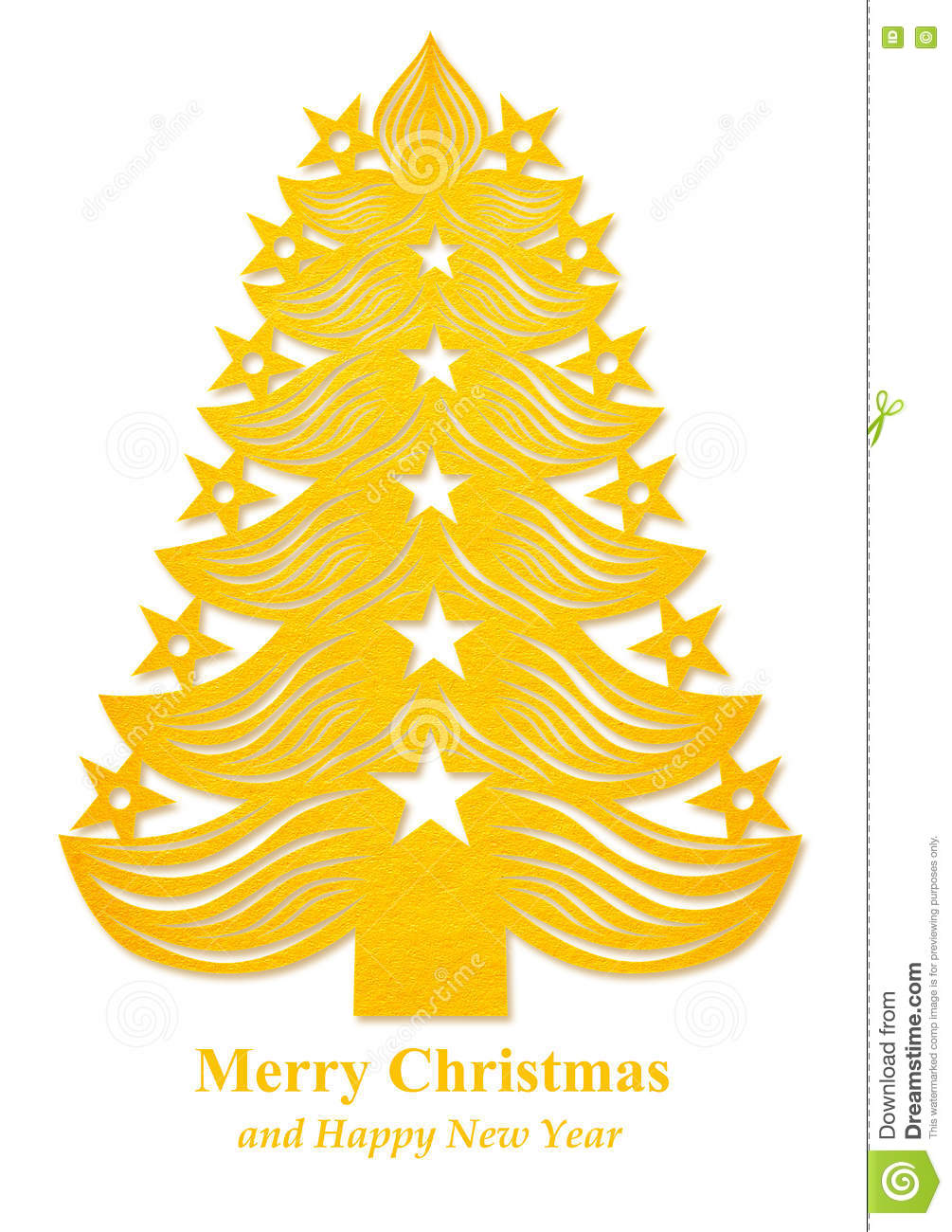 Christmas Tree Made Of Paper Yellow Stock Illustration