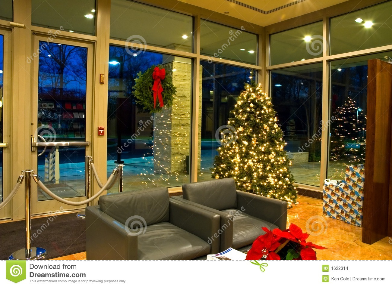 Christmas Tree In Office Lobby 2 Stock Images Image
