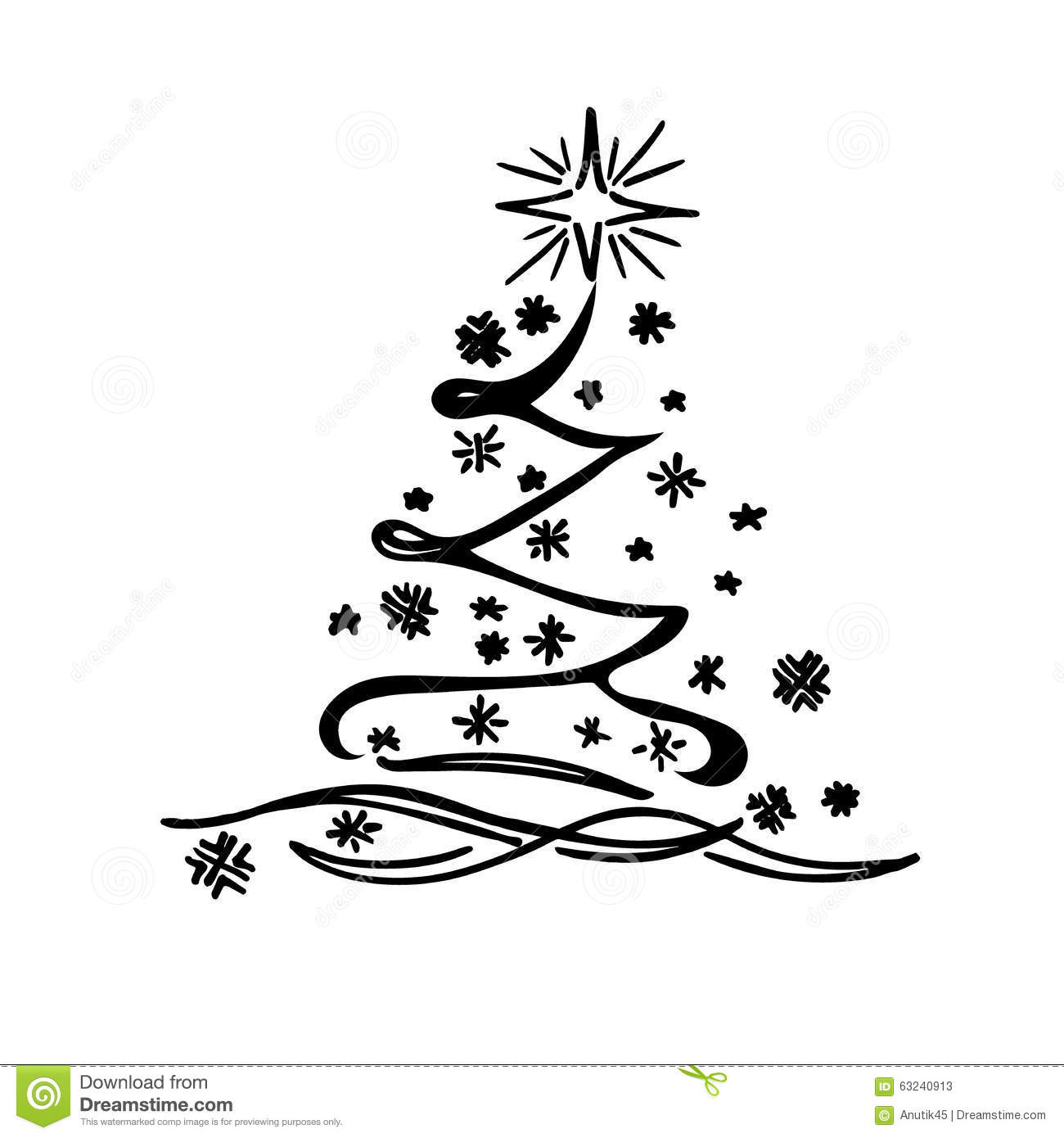 Christmas Tree Sketch Doodle Vector Illustration Stock