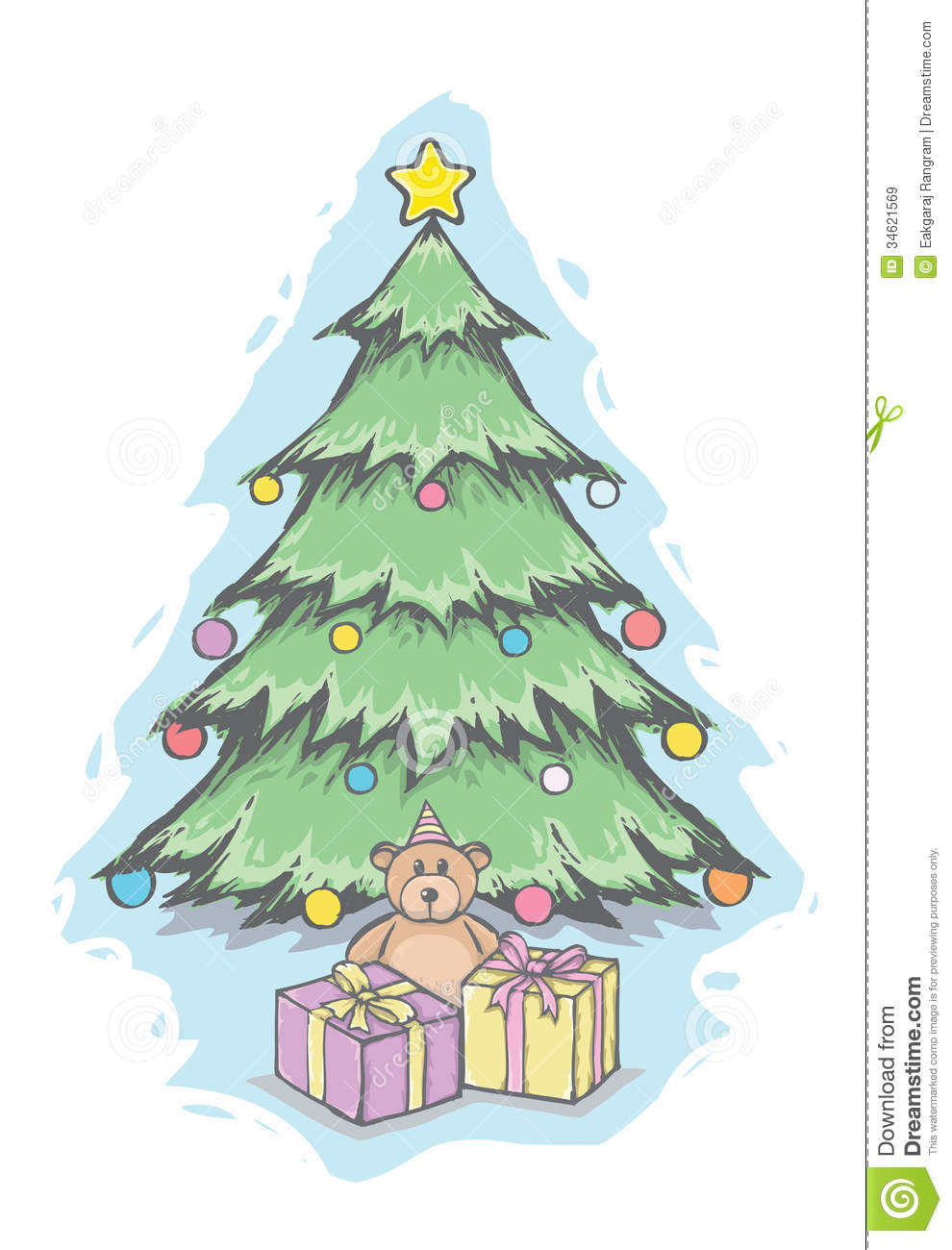 Christmas Tree And Teddy Bear Stock Vector Image 34621569