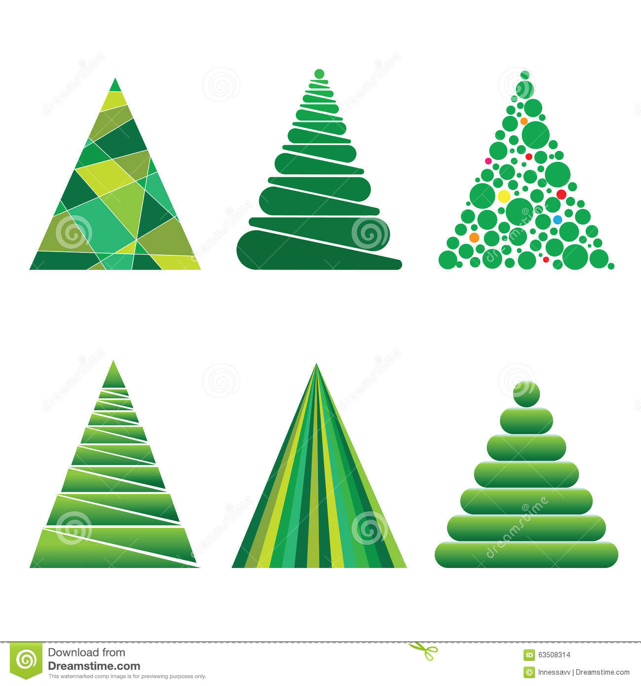 Christmas Trees Of Geometric Shapes Stock Vector