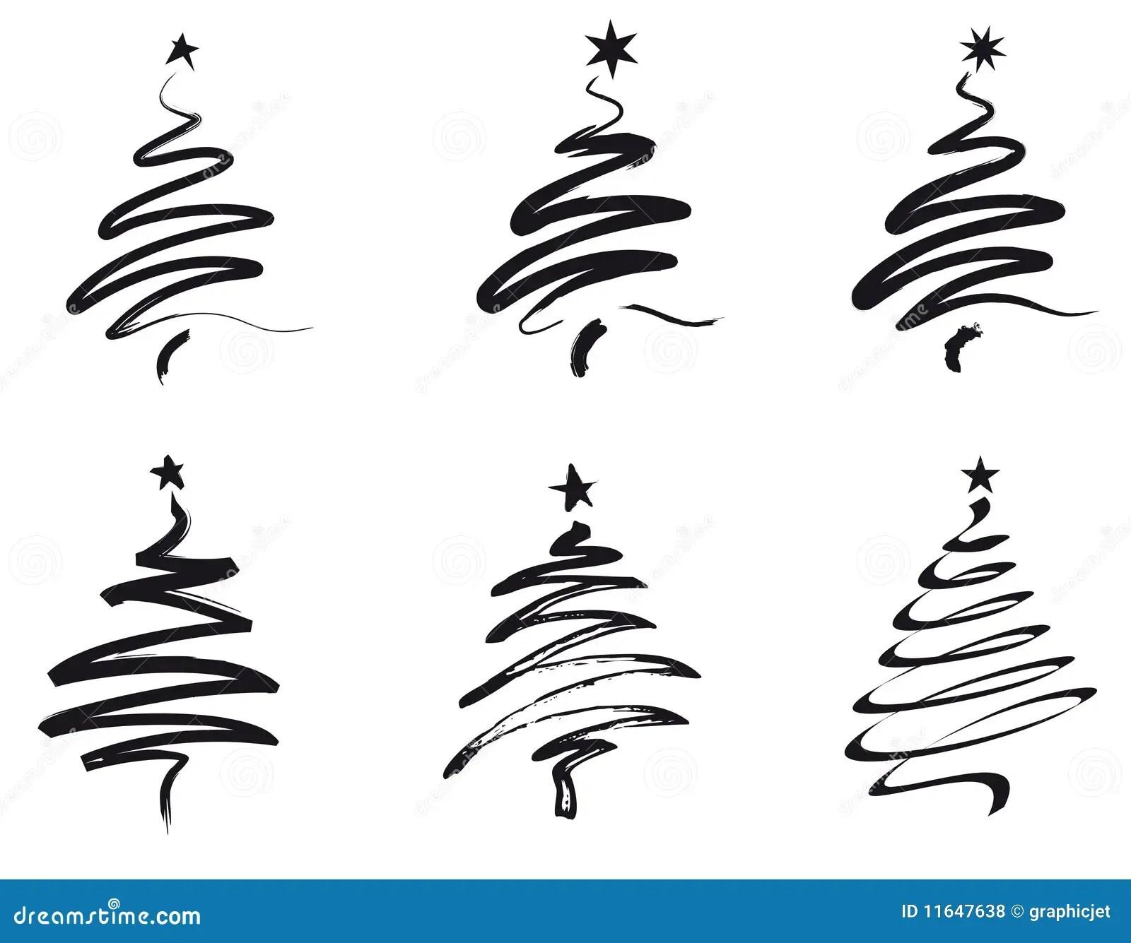 Christmas Trees Line Illustration Stock Vector