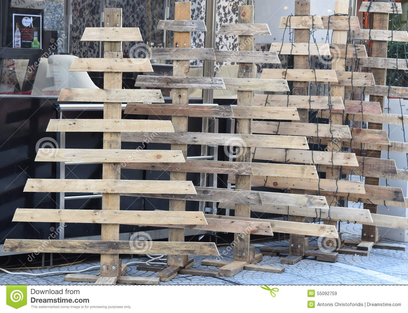 Christmas Trees Made Out Of Pallets Stock Photo Image