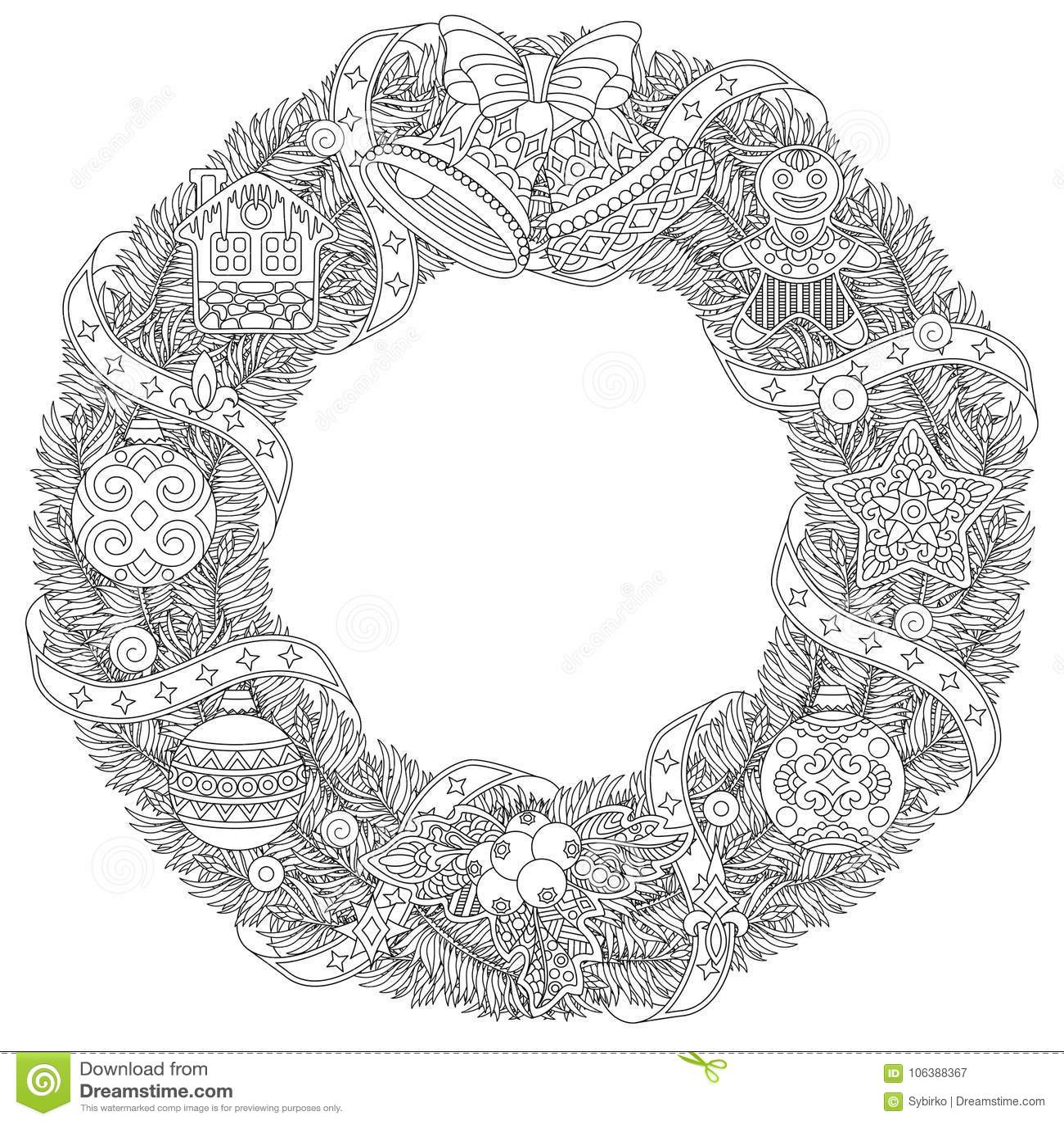 Christmas Winter Door Wreath With Retro Ornaments Stock