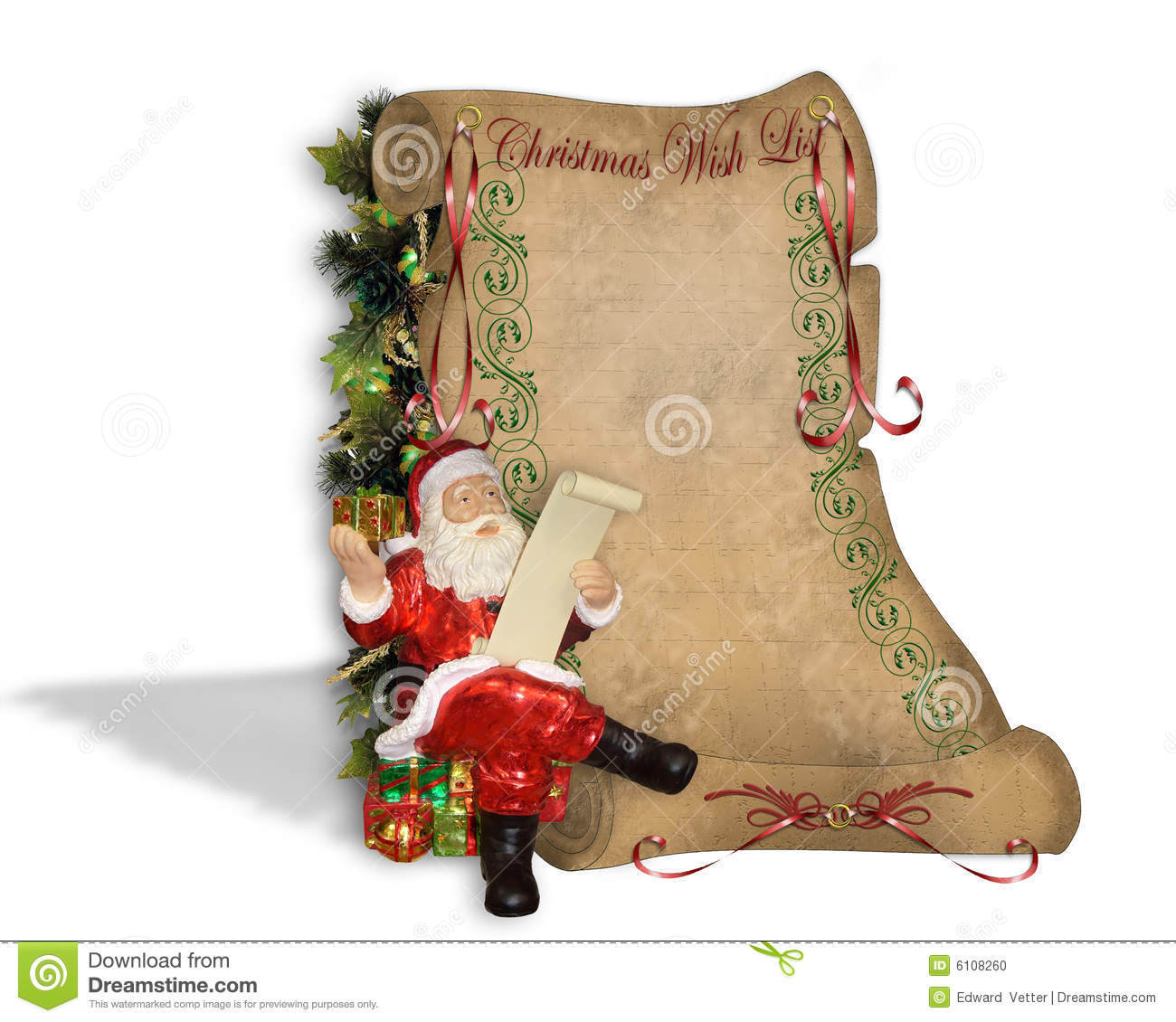 Christmas Wish List On Old Parchment Stock Illustration Image 6108260