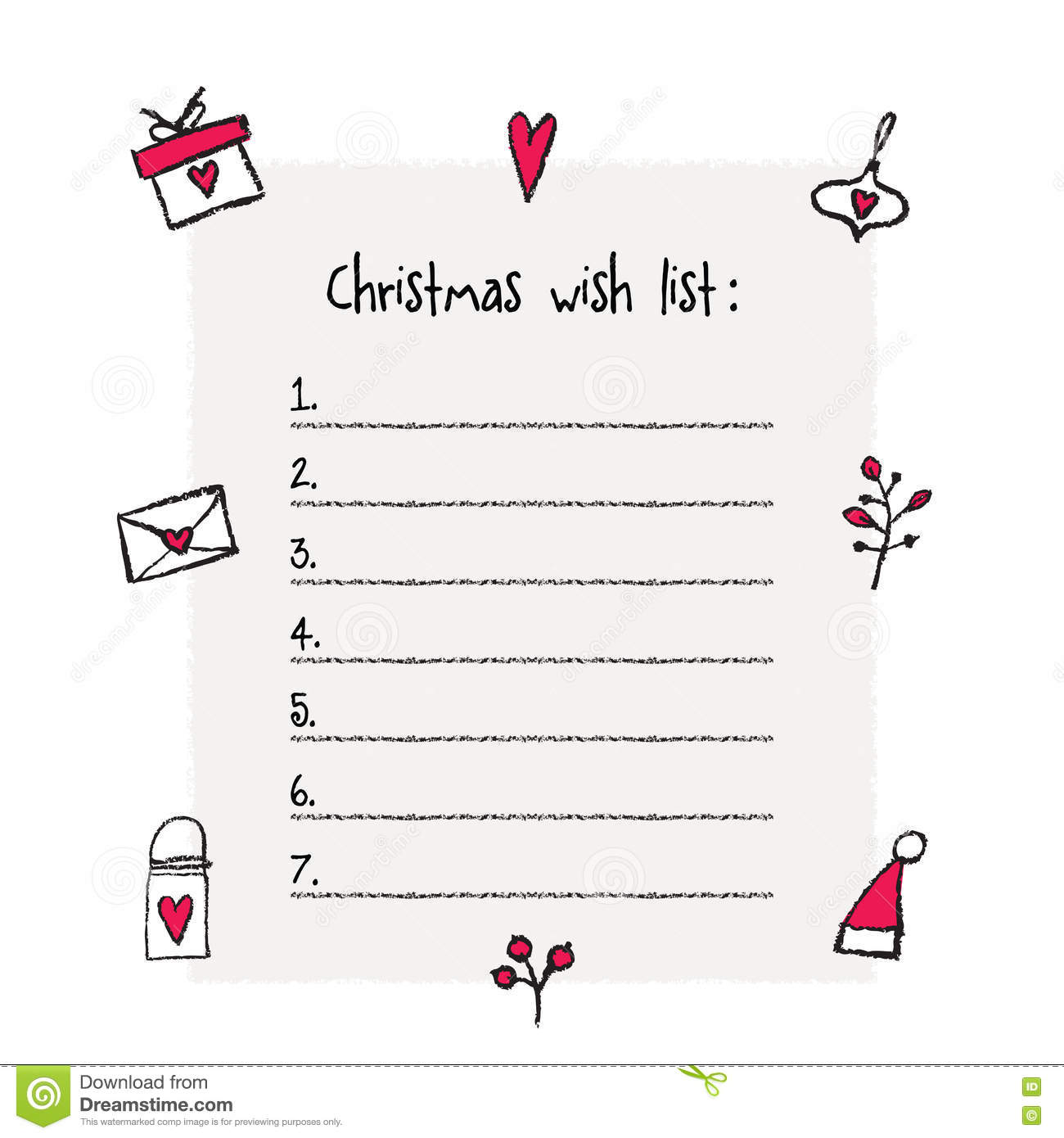 Christmas Wish List Template Stock Vector