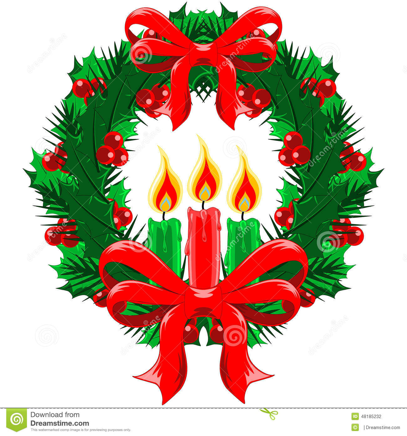 Christmas Wreath With Bows And Candles Stock Vector