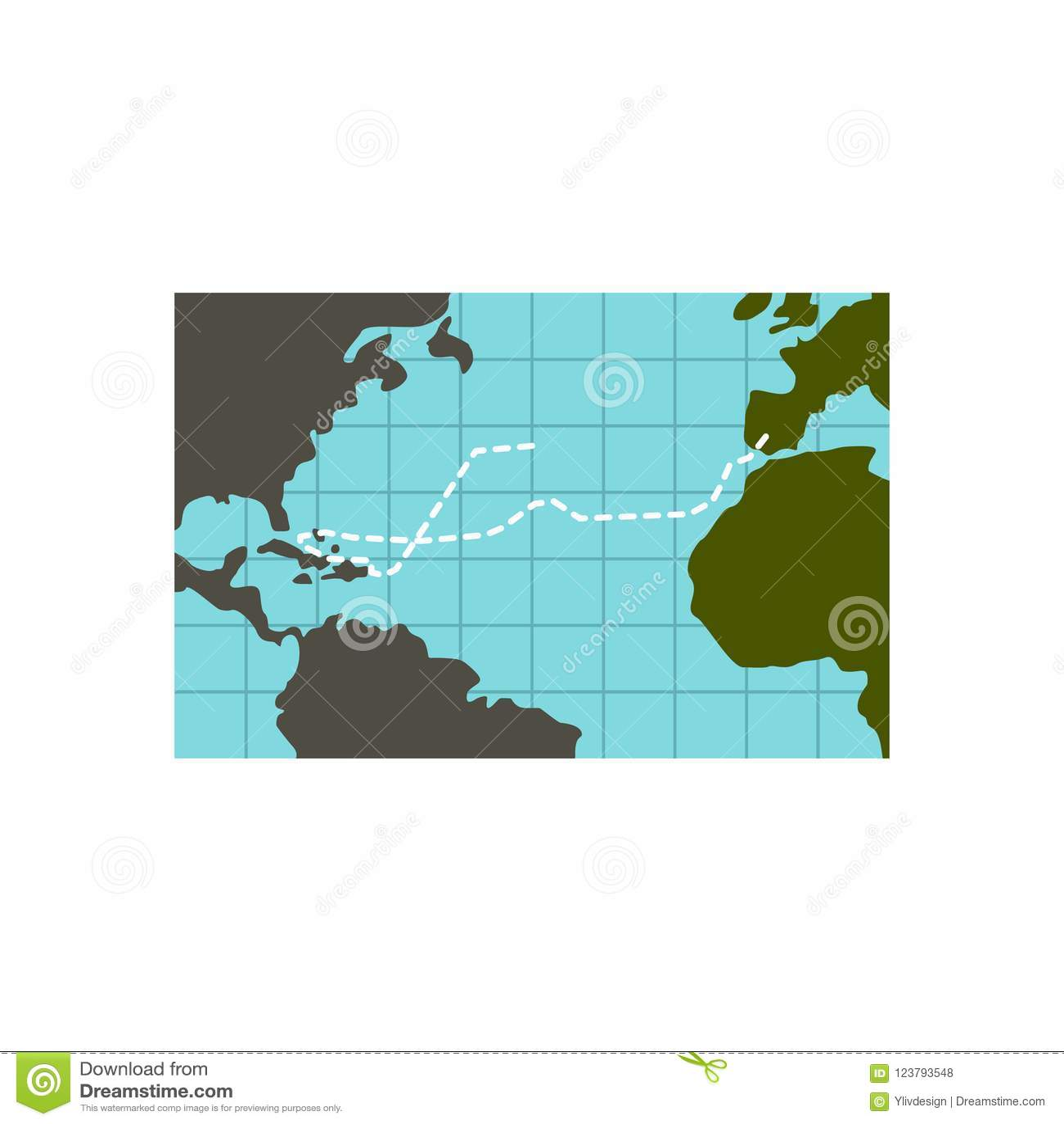 Christopher Columbus Voyage Icon Flat Style Stock