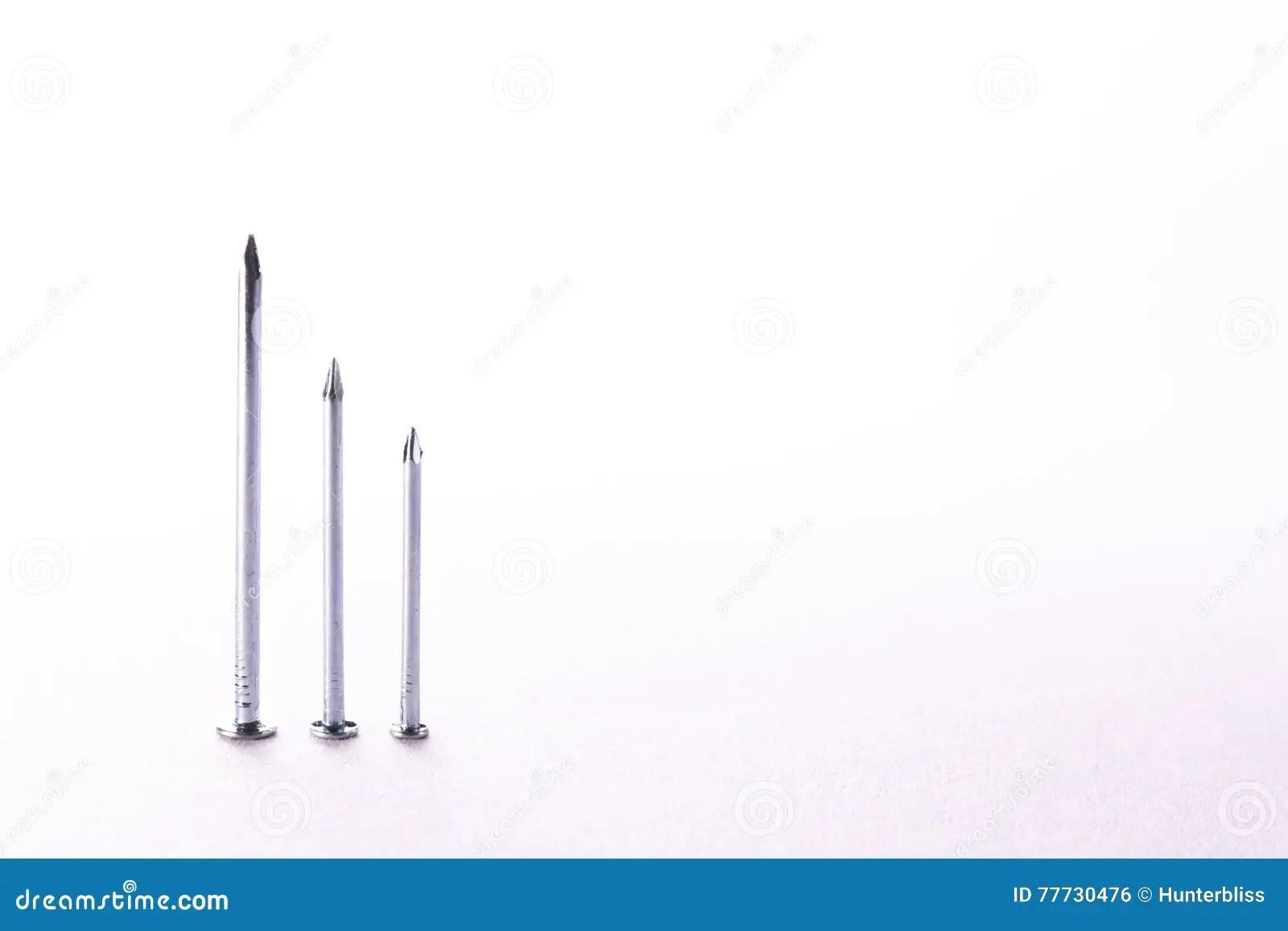 Chrome Metal Nails Decreasing Bar Graph Construction White