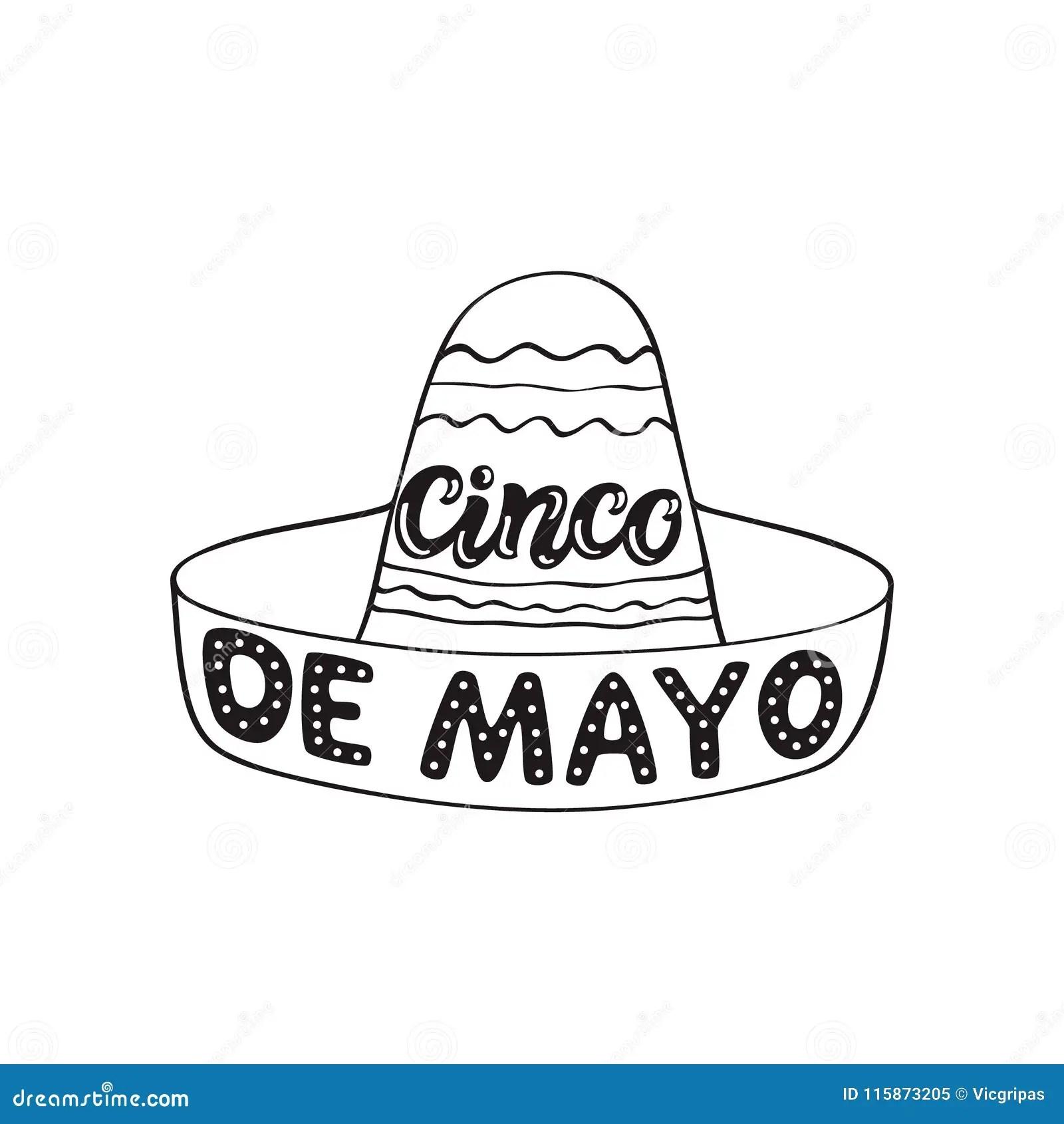 Cinco De Mayo Hand Drawn Typography Stock Vector