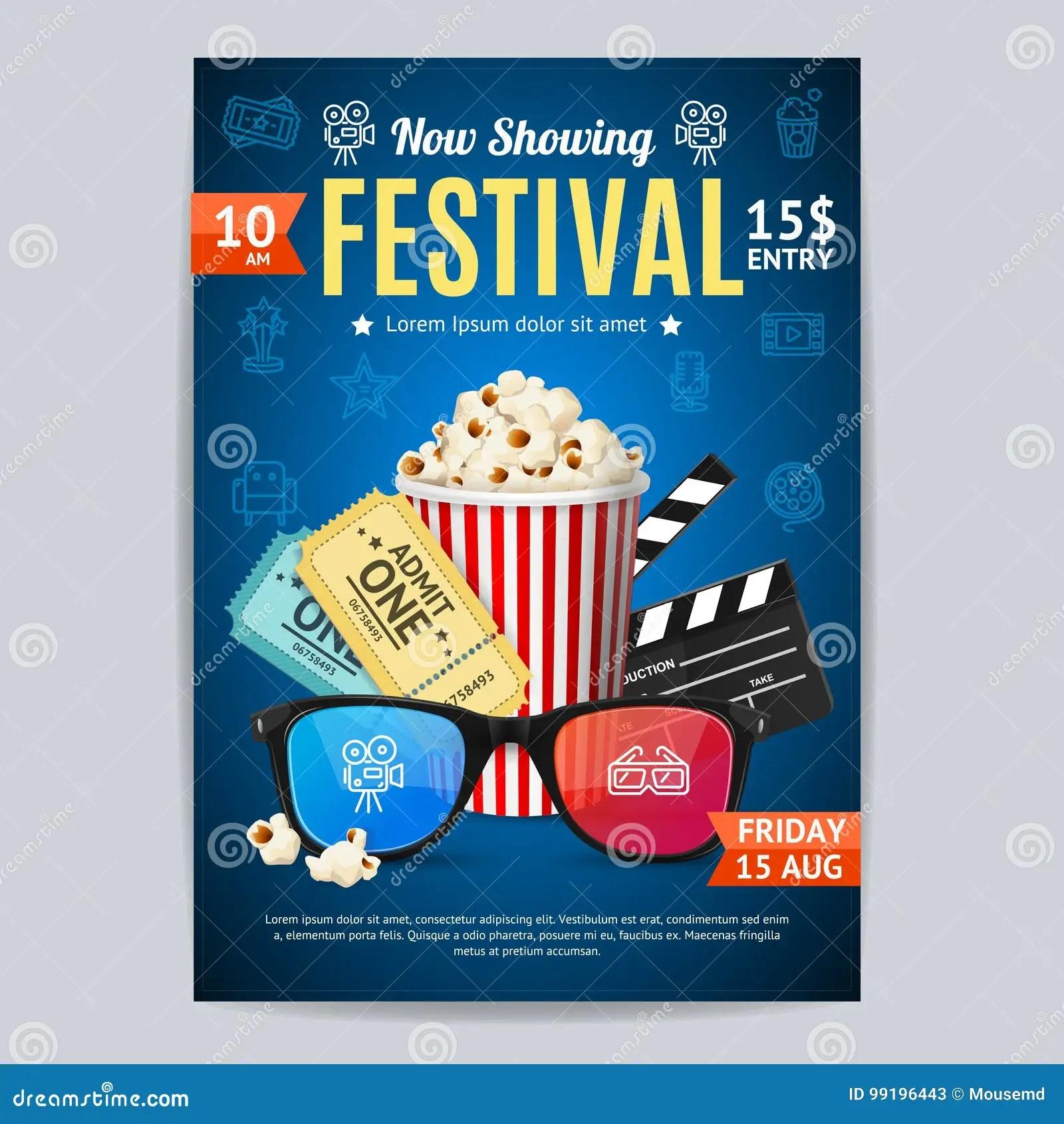 https www dreamstime com stock illustration cinema movie festival poster card template include popcorn ticket clapper vector illustration premiere film invitation image99196443