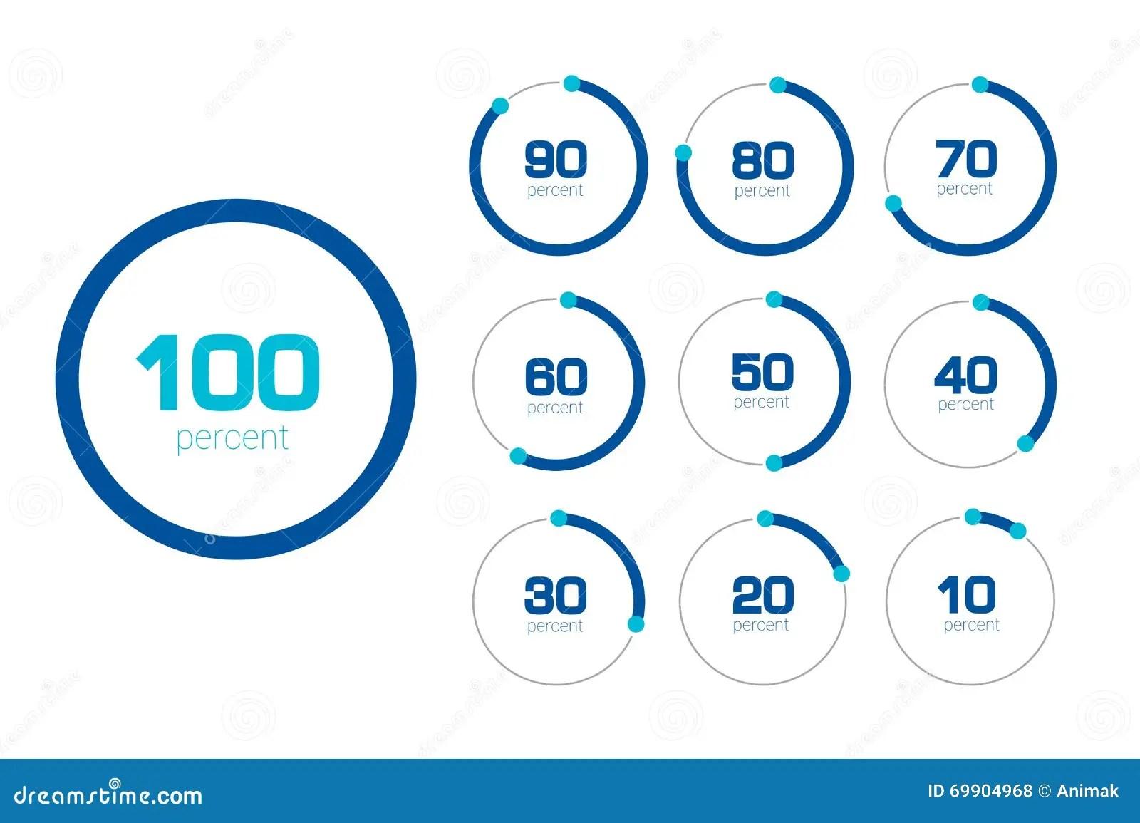 Circle Chart Graph Flat Design Percentage Templates Set