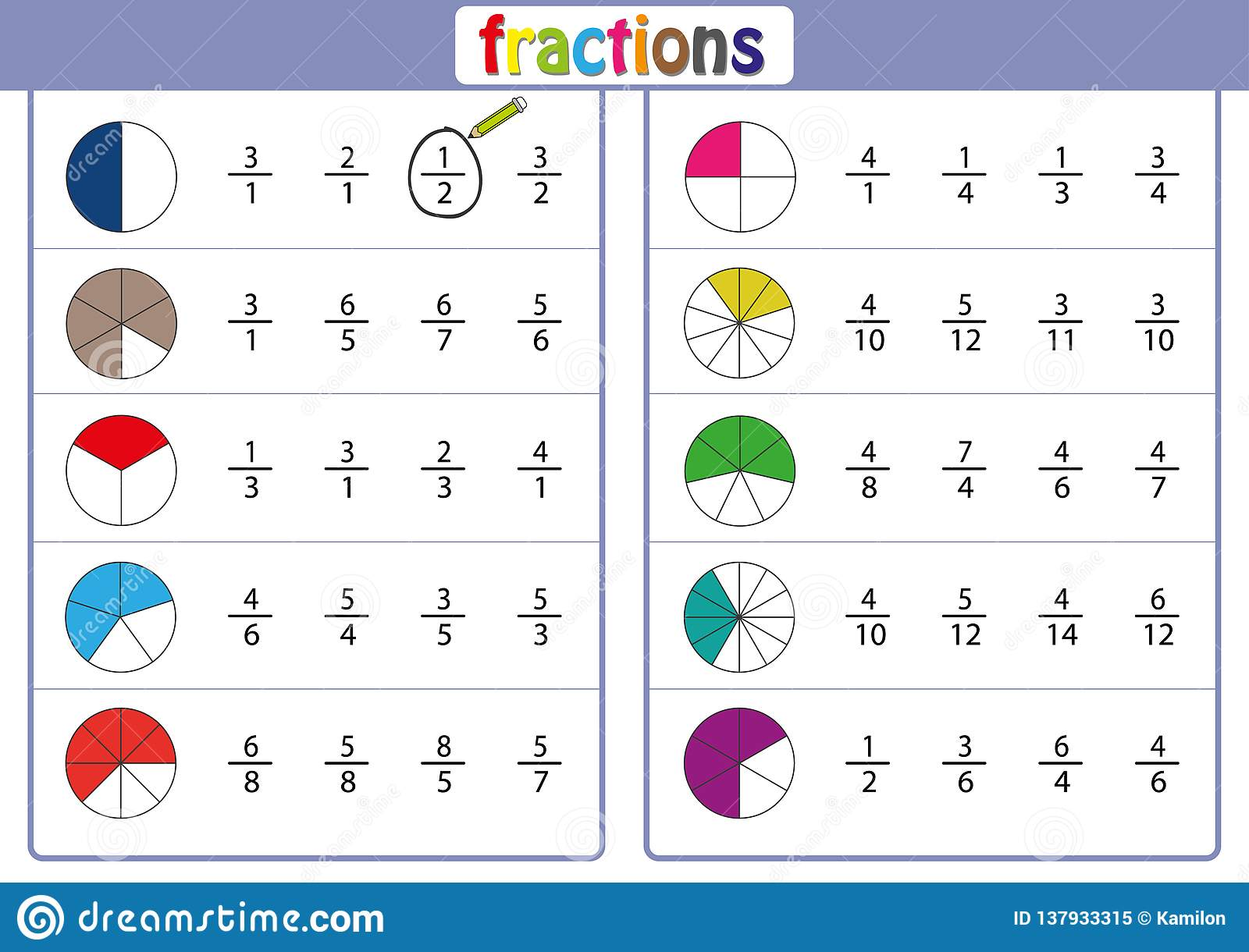 Fractions Of Time Worksheet