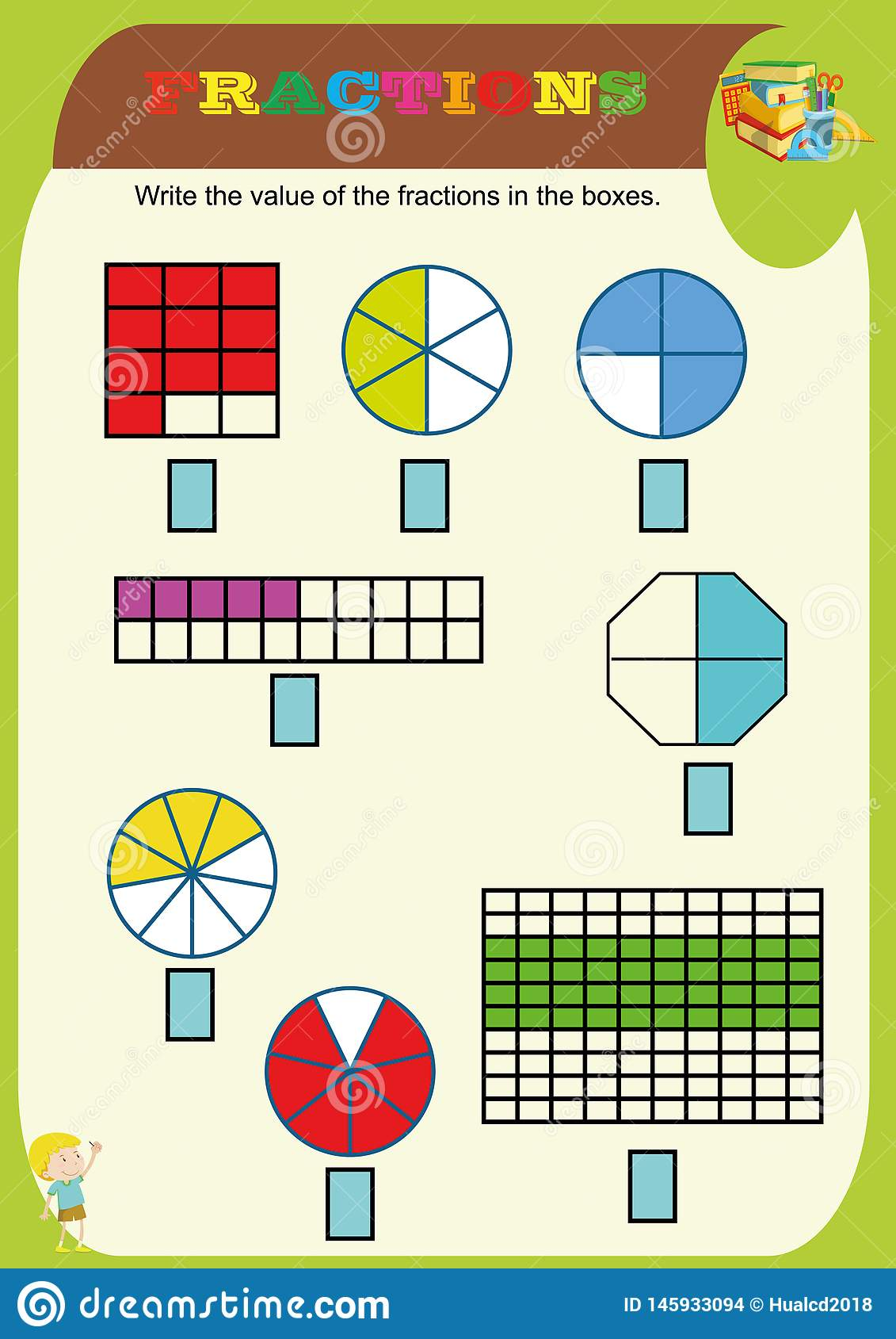 Circle The Correct Fraction Mathematics Math Worksheet For Kidsactions Addition Printable