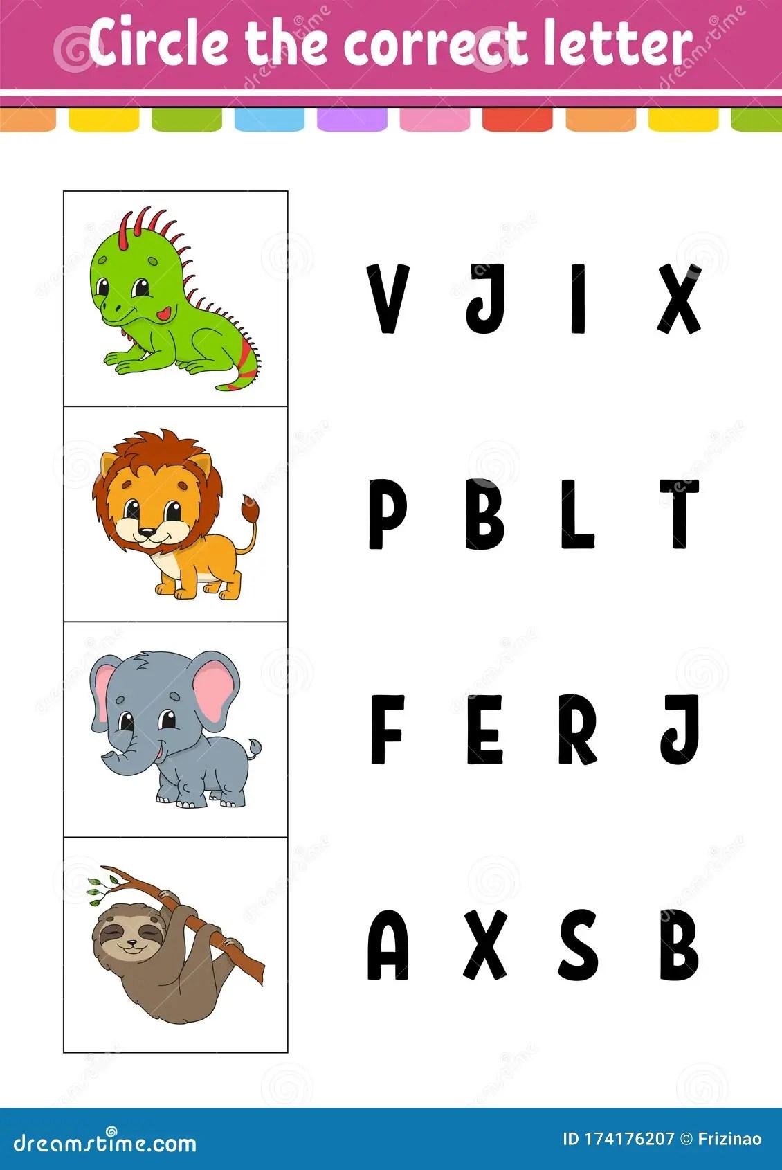 Circle The Correct Letter Lion Elephant Sloth Iguana