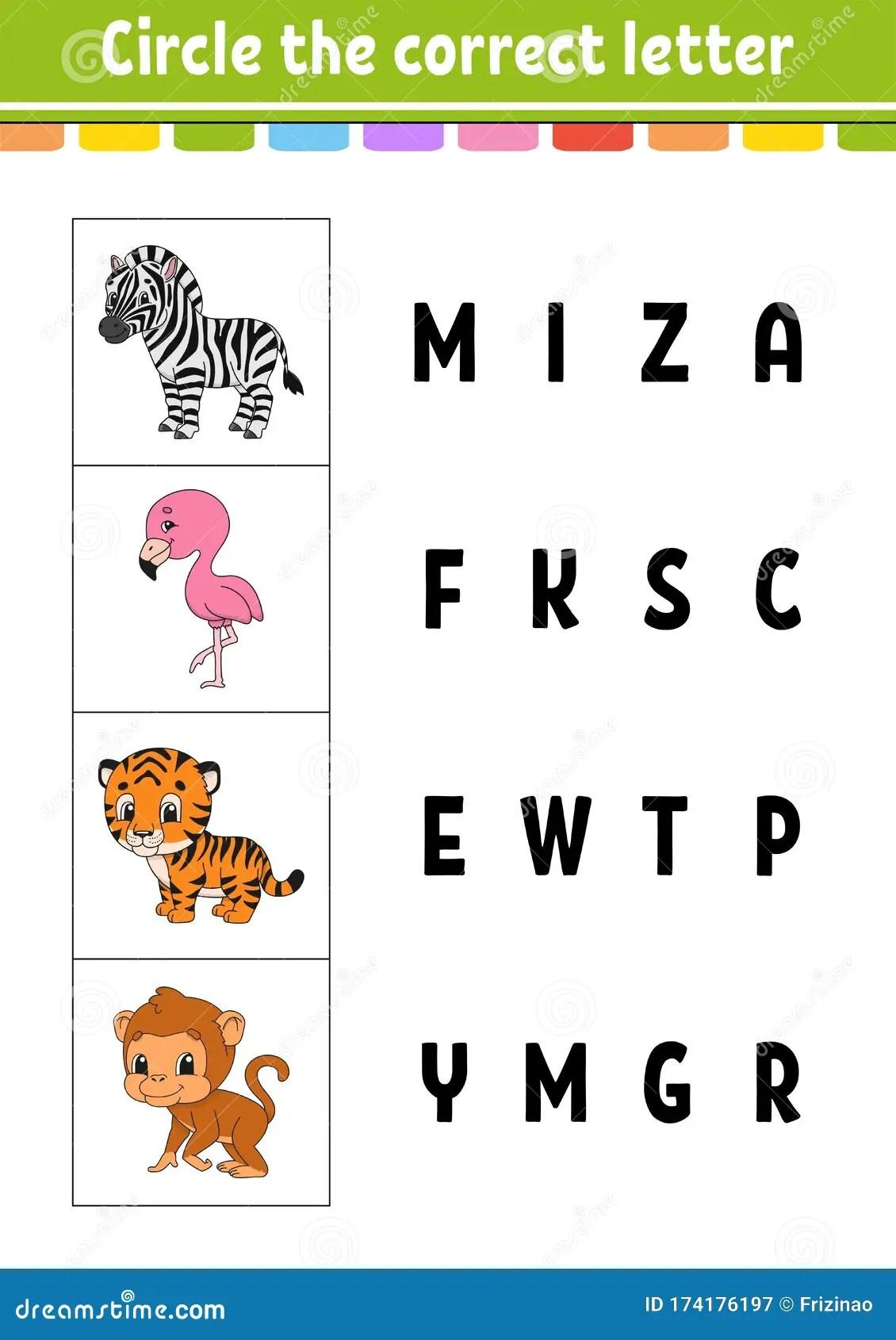 Circle The Correct Letter Zebra Flamingo Tiger Monkey