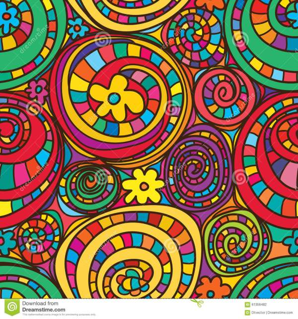 Circle Drawing Colorful Flowers Seamless Pattern Stock ...