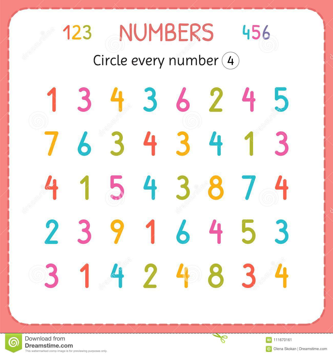 Circle Every Number Four Numbers For Kids Worksheet For