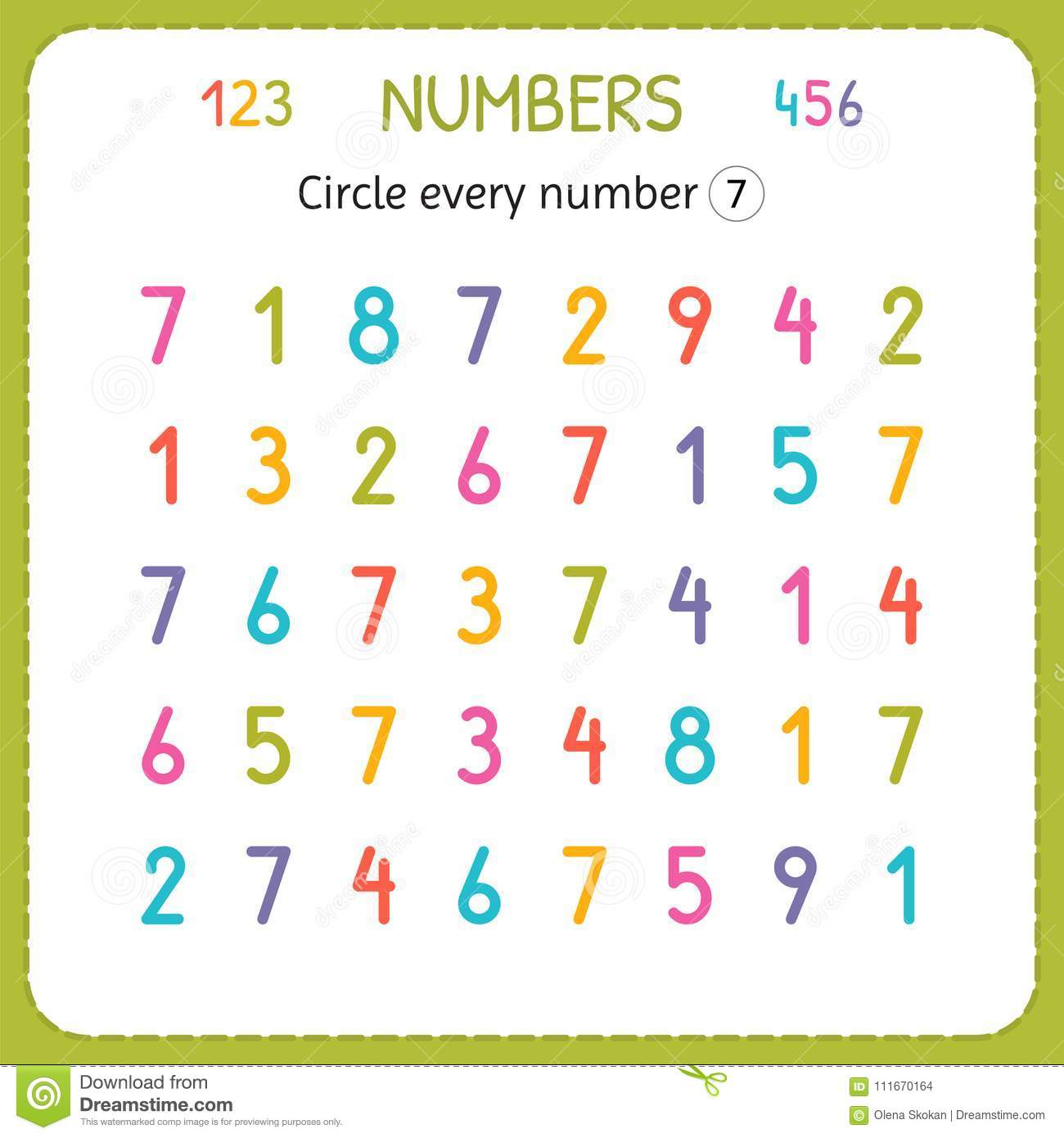 Circle Every Number Seven Numbers For Kids Worksheet For Kindergarten And Preschool Training