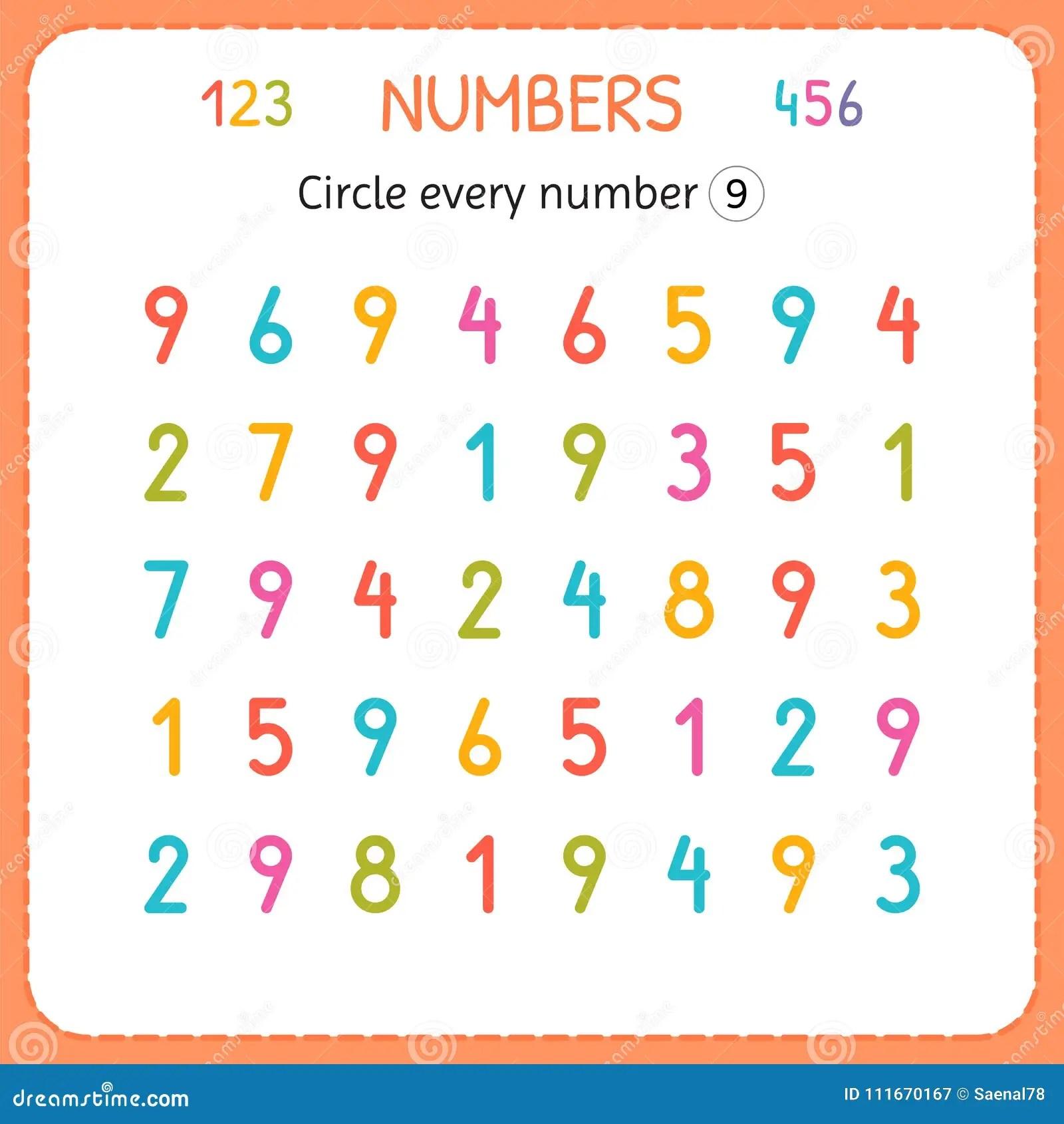 Circondi Ogni Numero Nove Numeri Per I Bambini Foglio Di Lavoro Per L Asilo E La Scuola Materna