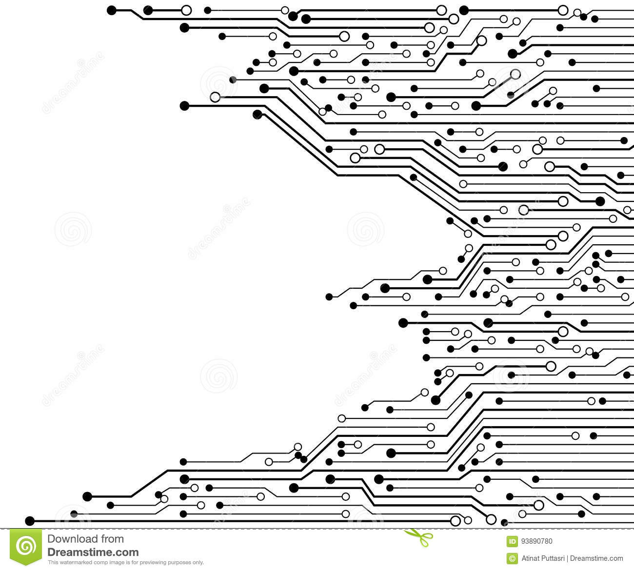 Circuit Board Black And White Vector Background Stock