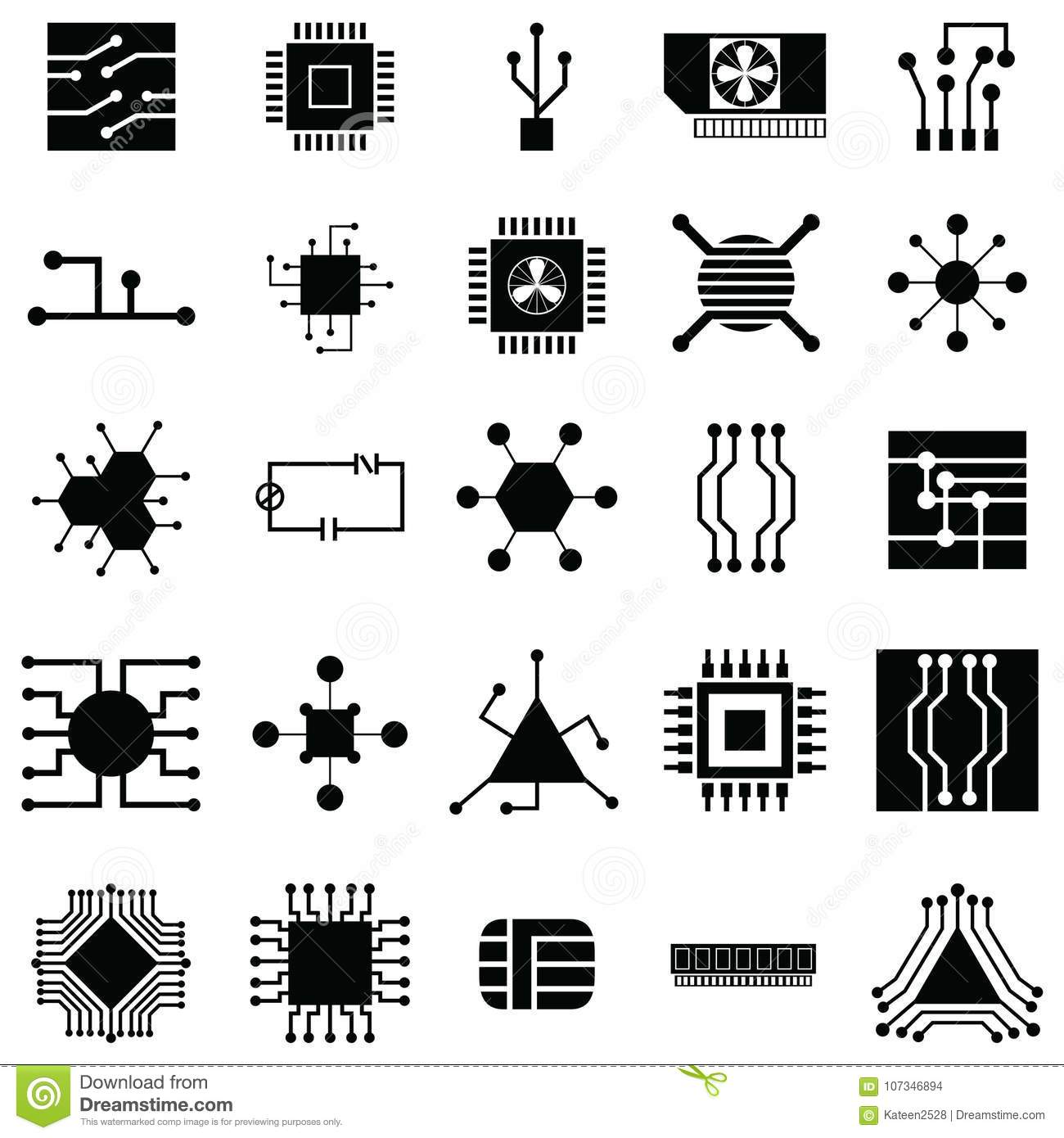 Circuit Board Icon Set Stock Vector Illustration Of