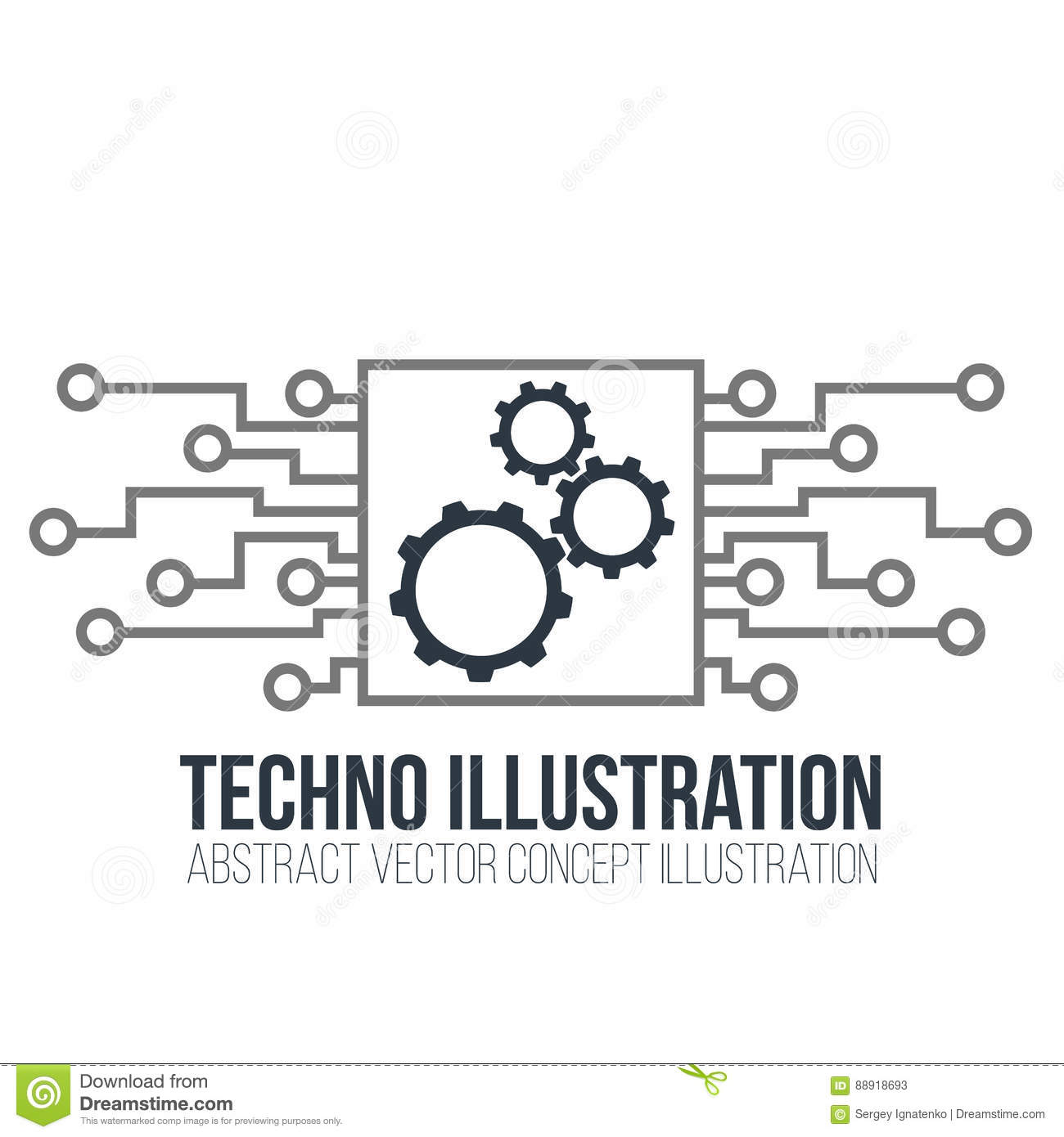 Circuit Board Vector On White Background Gears