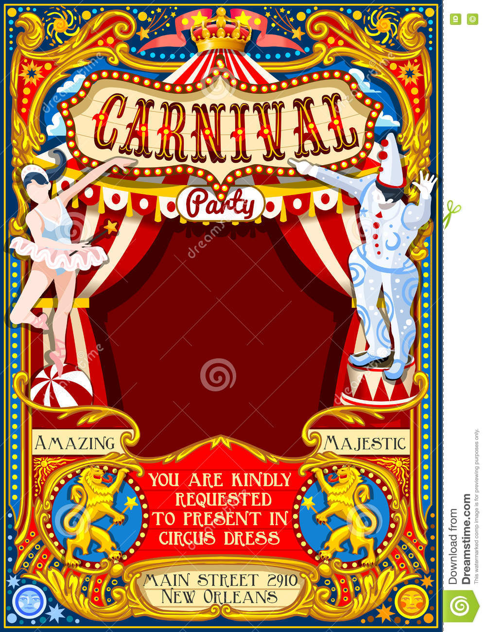 Circus Carnival Theme Vintage 2d Vector Stock Vector Illustration Of Invitation Background