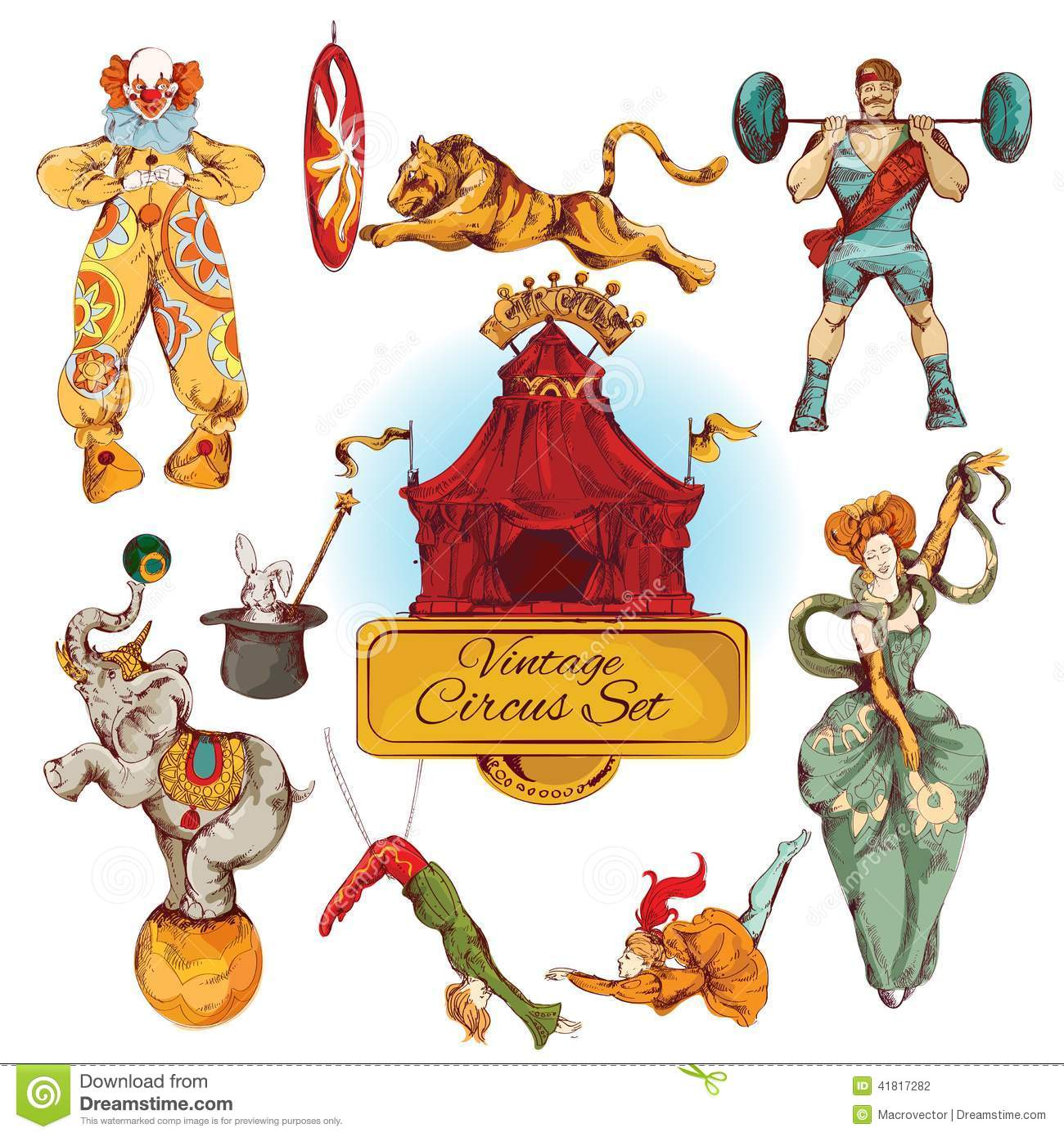 Circus Vintage Colored Icons Set Stock Vector