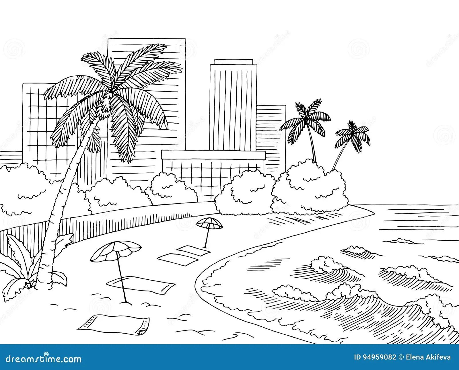 City Beach Graphic Black White City Landscape Sketch