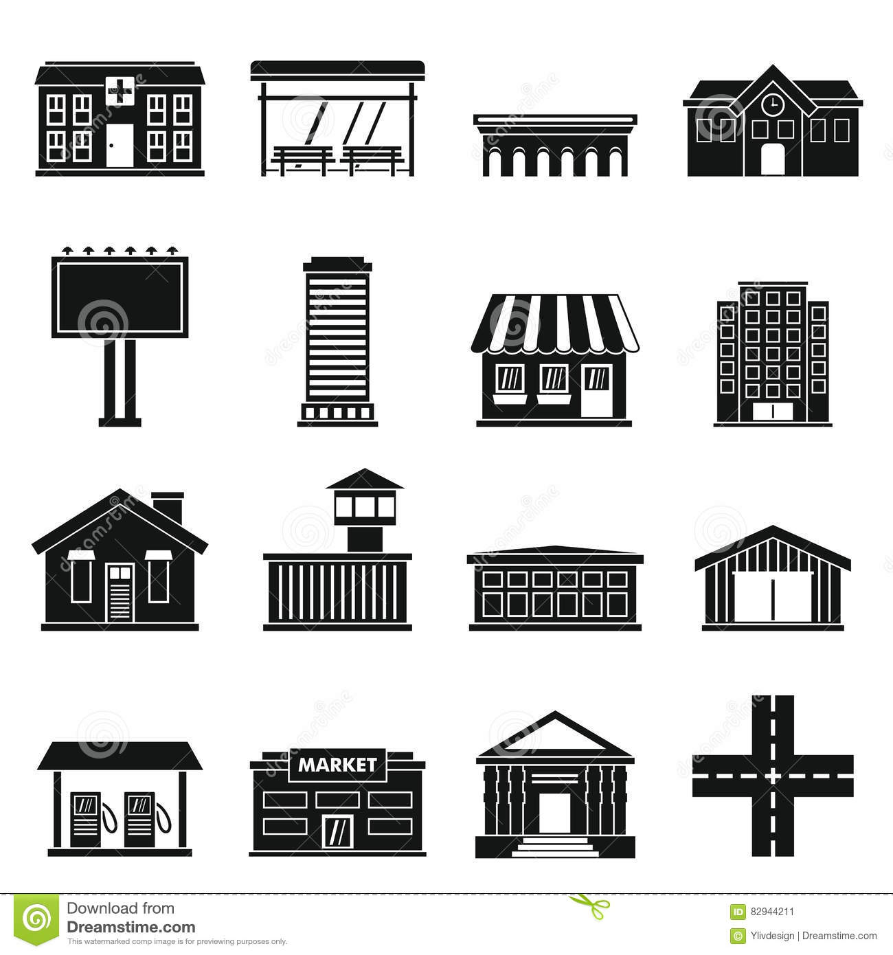 City Infrastructure Items Icons Set Simple Style Stock Vector