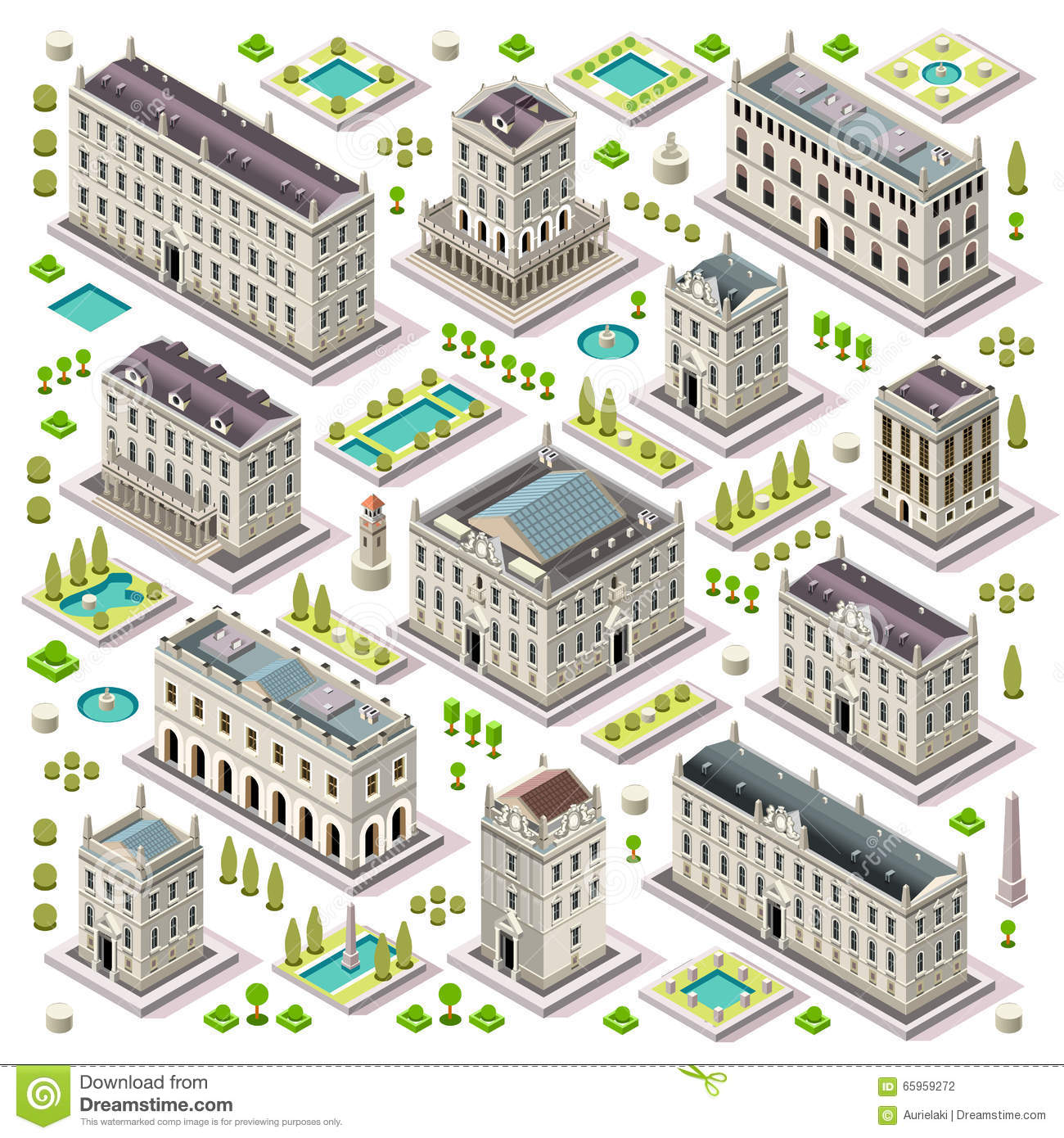City Map Set 06 Tiles Isometric Stock Vector