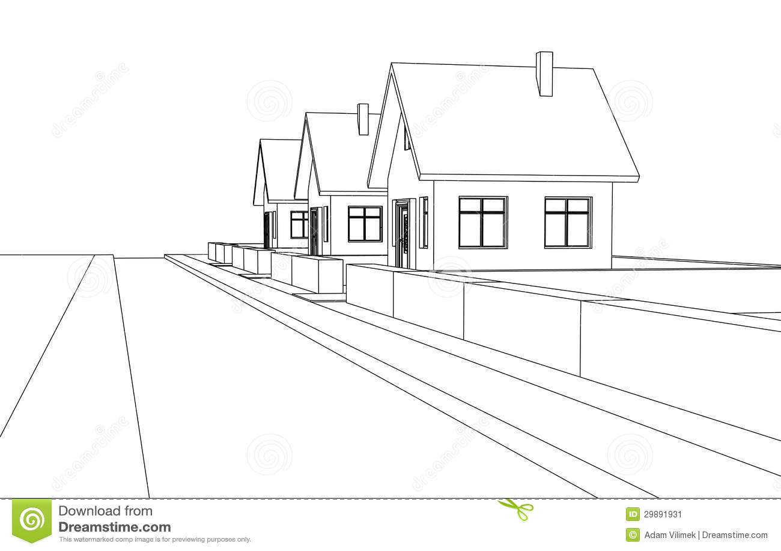 City Street Development Vector Perspective Sketch Stock