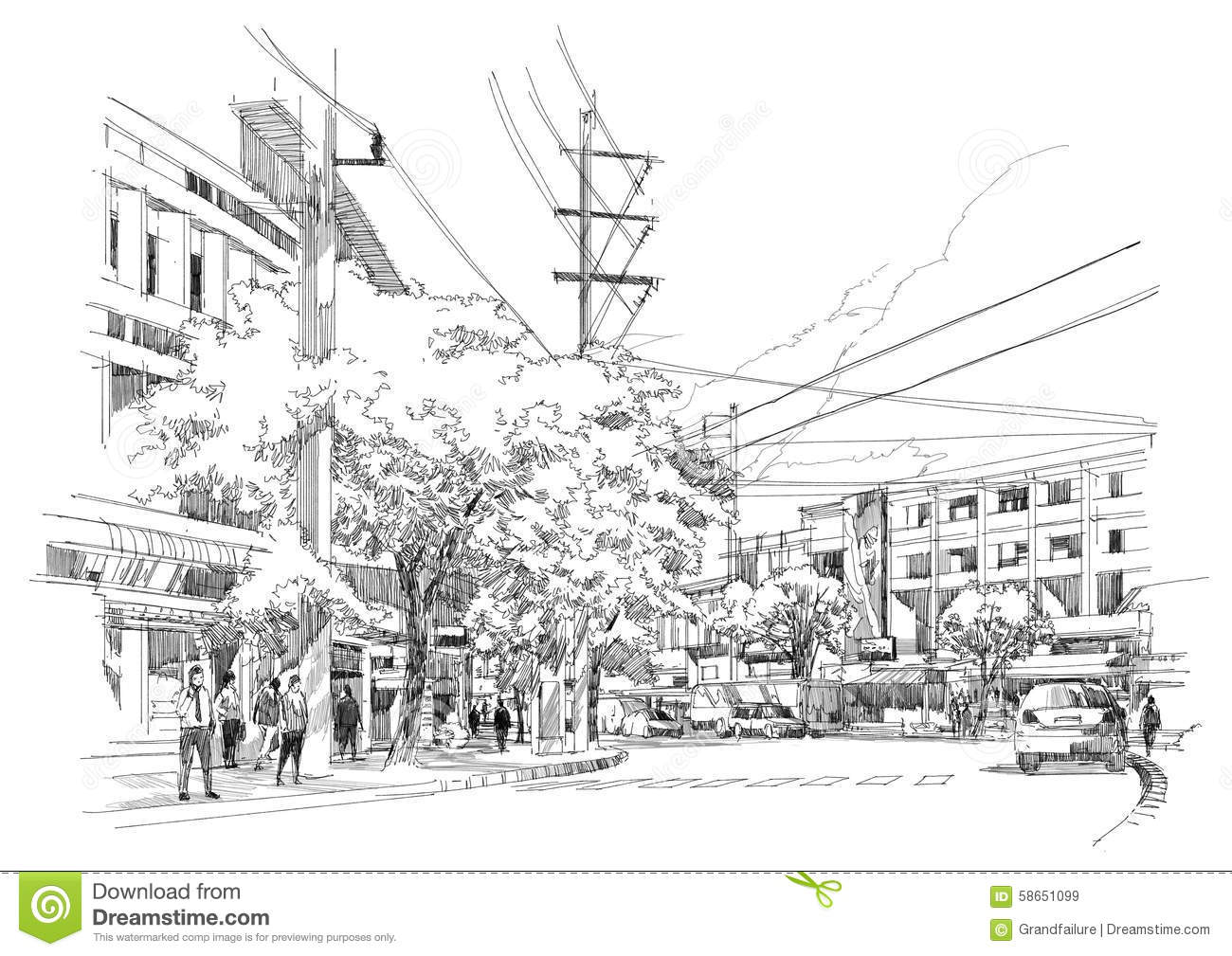 City Street Sketch Stock Illustration
