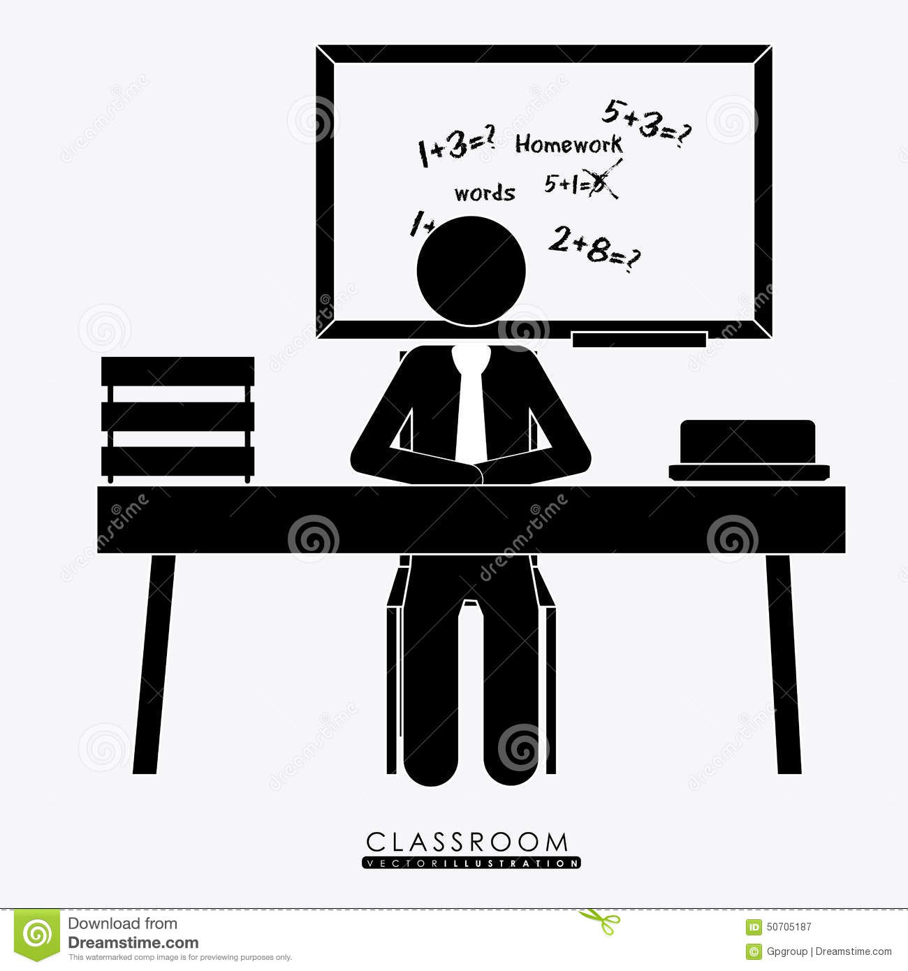 Class Room Desing Vector Illustration Cartoon Vector