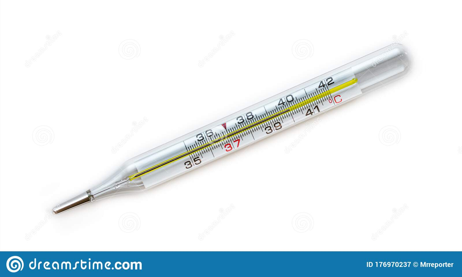 Classic Body Thermometer Indicating A Temperature Of 40