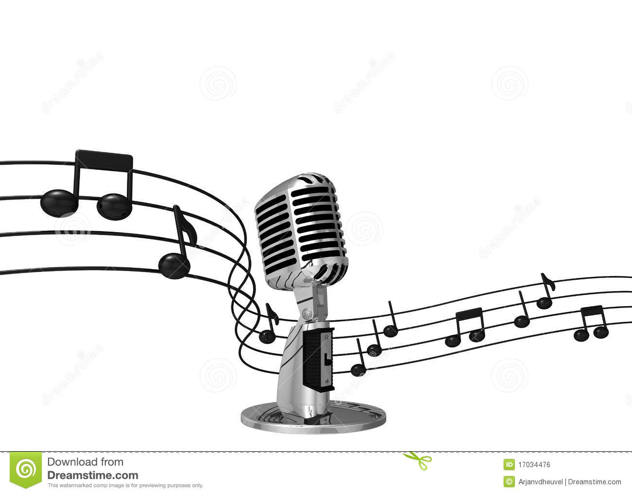 Classic Microphone With Music Notes On Background Stock
