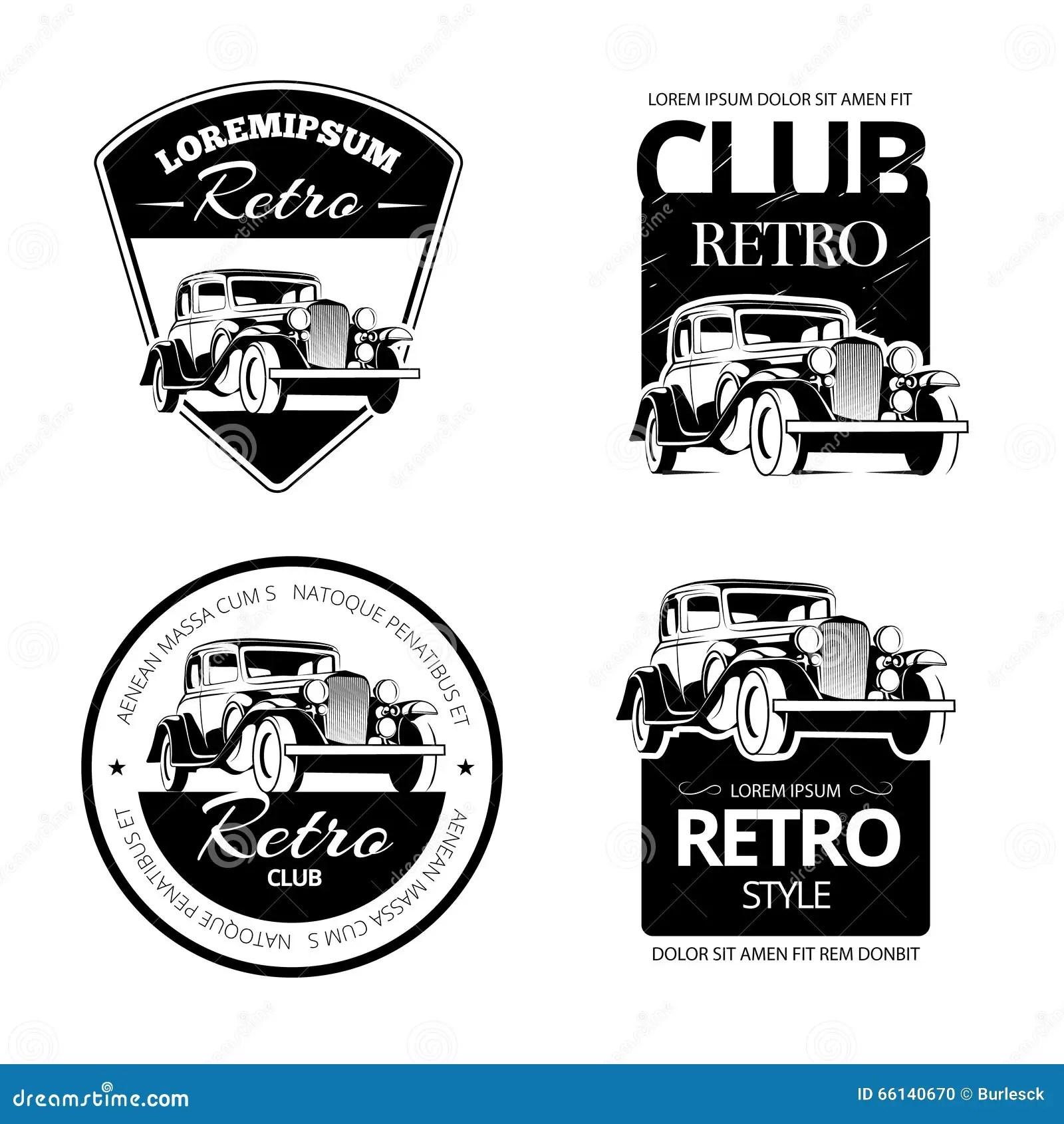 Classic Muscle Car Vector Labels Emblems And Badges Set