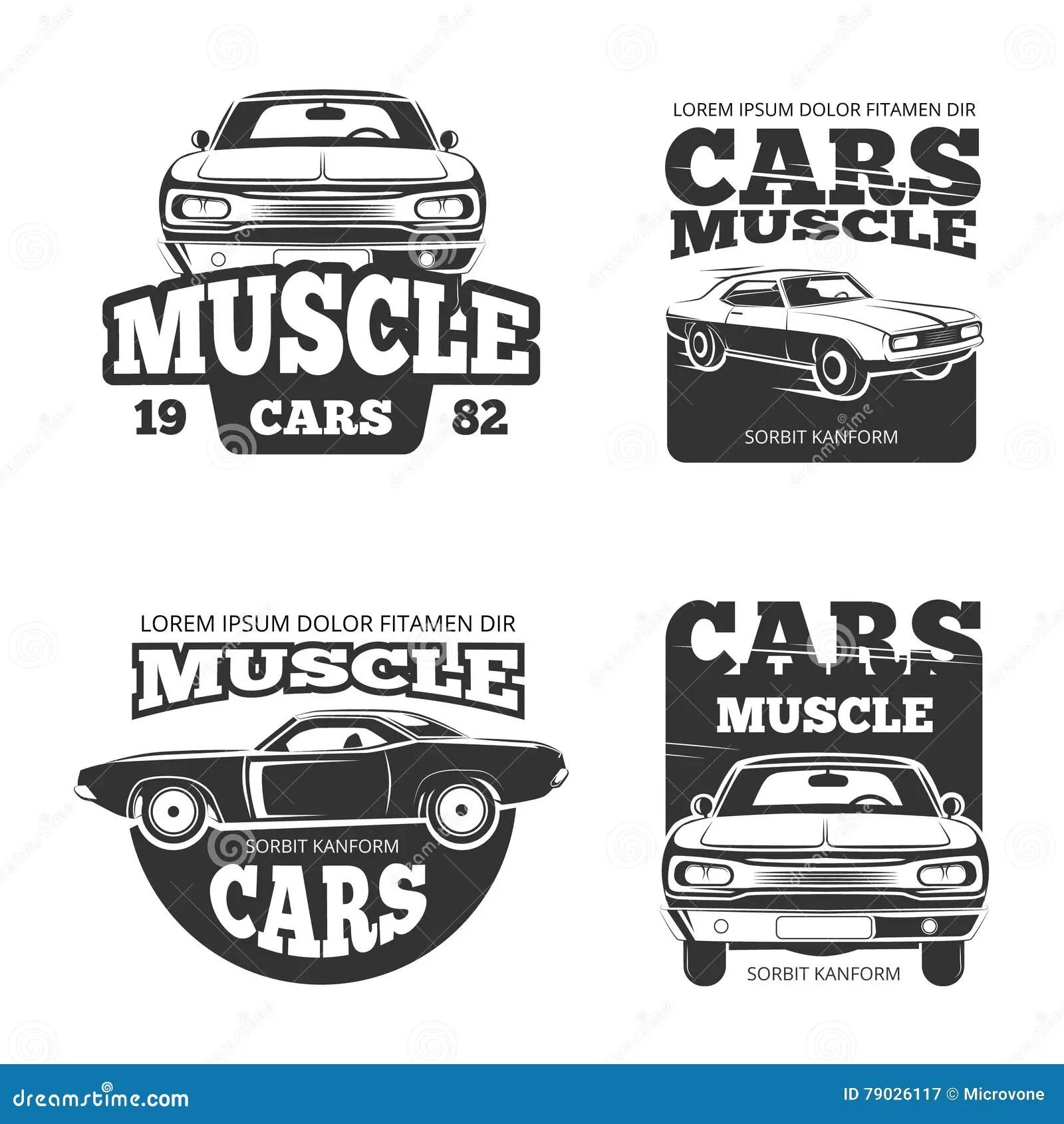 Classic Muscle Car Vintage Vector Labels Logo Emblems